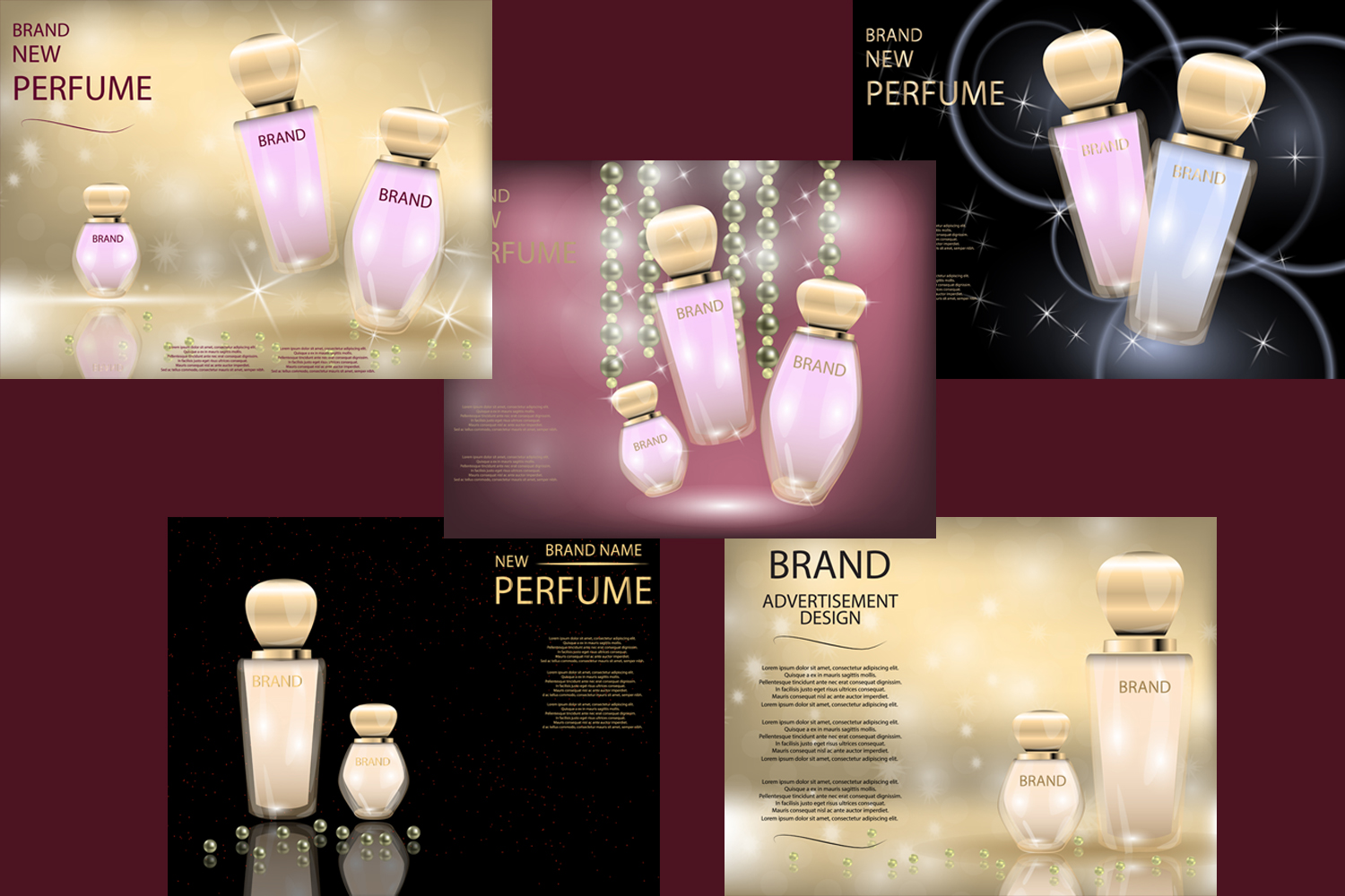Glamorous Perfume Glass Bottles  Mock-up, 3D Realistic Vector Illustration, Template example image 1