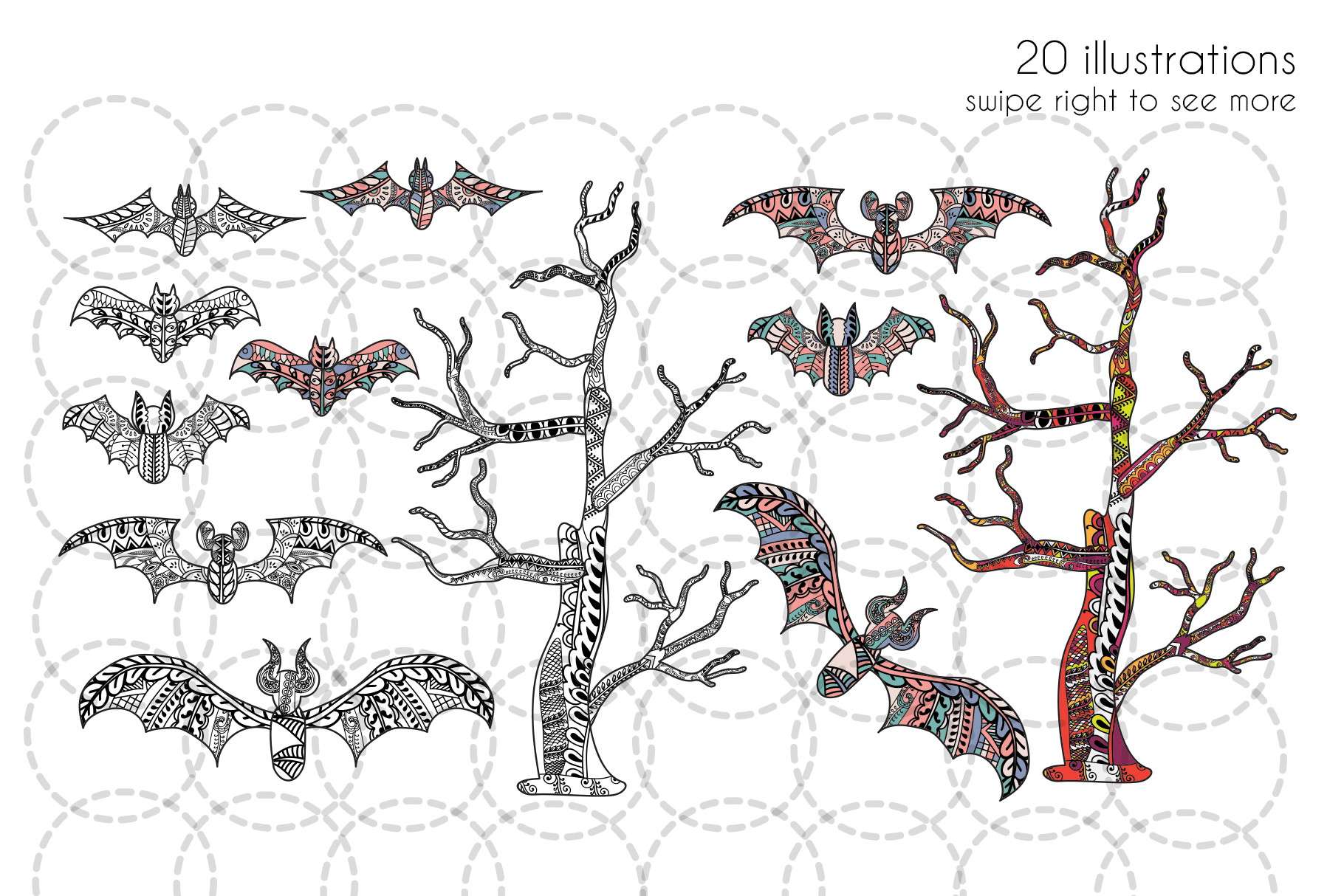 Halloween coloring illustrations example image 3