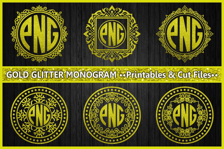 monogram gold glitter, cut files, gold glitter, ornament example image 1