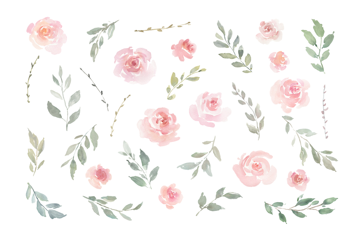 Pink Blush Watercolor Flowers Roses PNG Collection example image 2