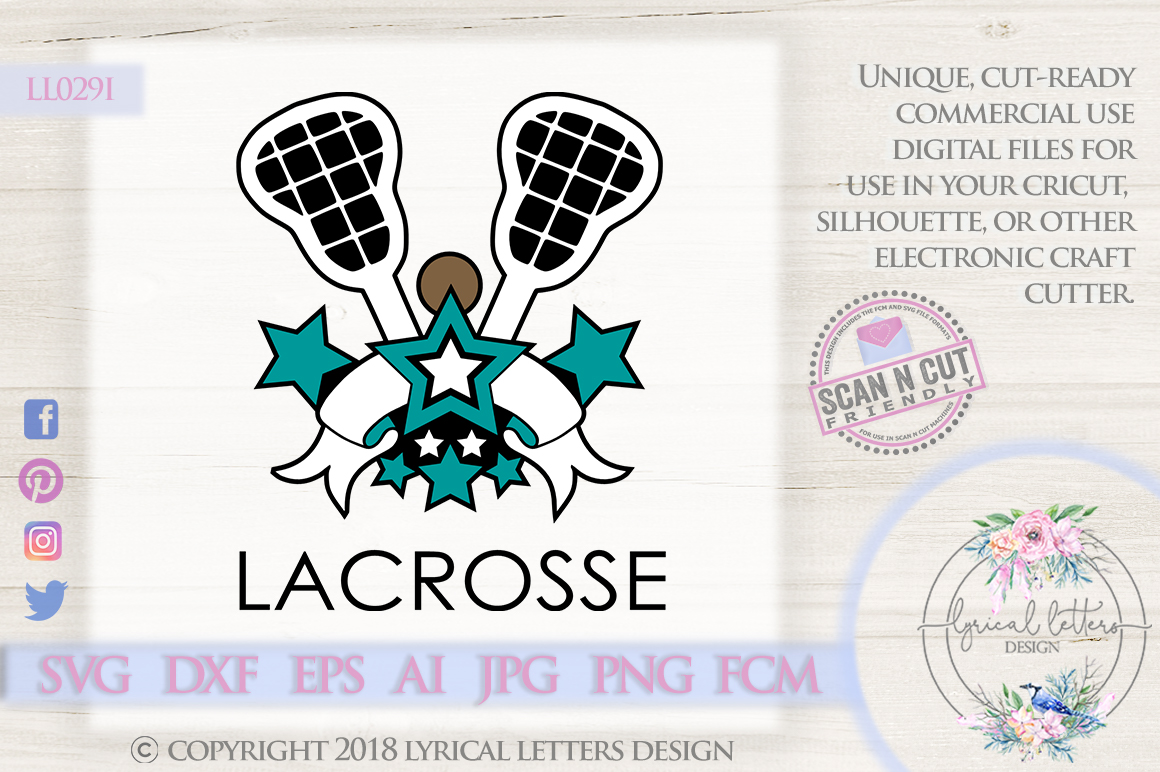 Lacrosse Sports Banner with Stars SVG DXF FCM LL029I example image 1