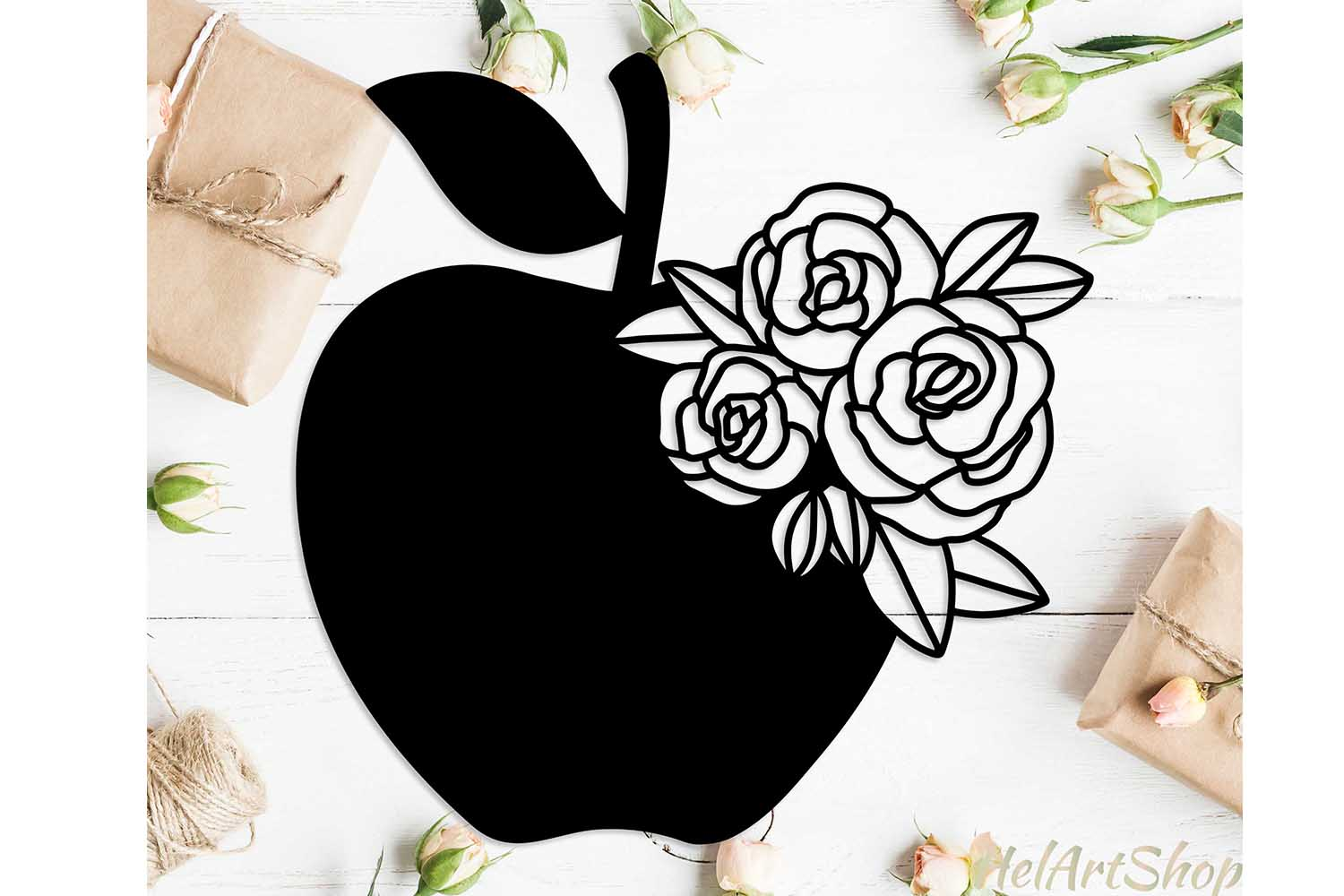 Apple with flowers svg design example image 1