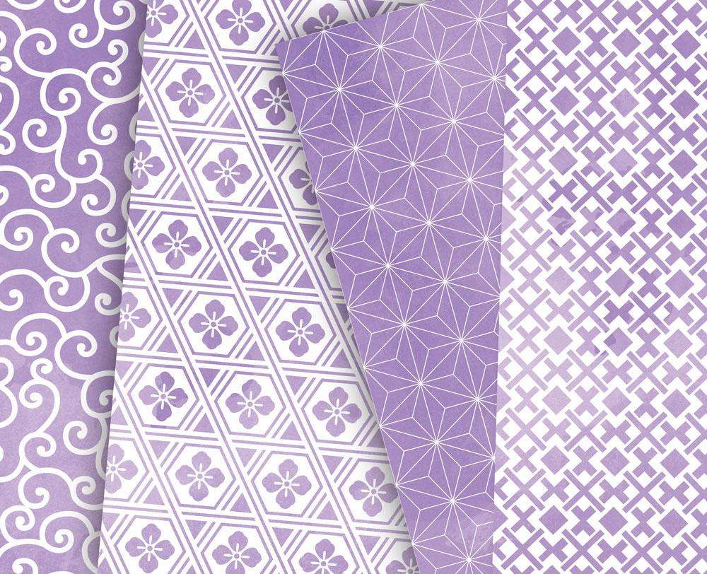 Lilac Digital Paper Japanese Background Patterns example image 5