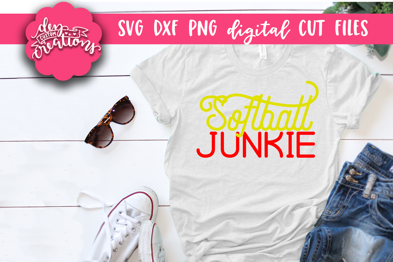 Softball Junkie - SVG DXF PNG Cut files & Clipart example image 2