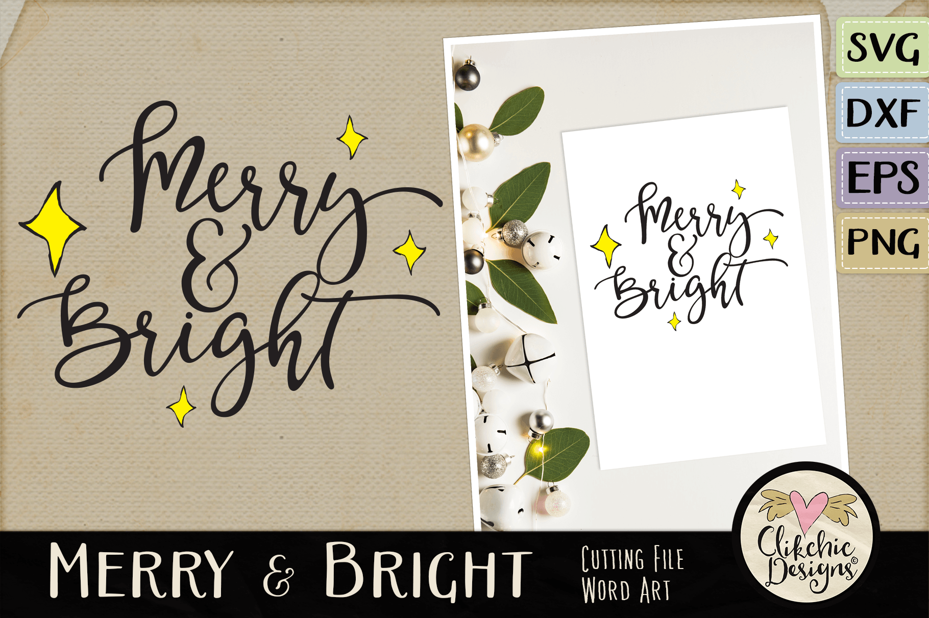 Christmas SVG - Merry & Bright Cutting file Clipart Word Art example image 1