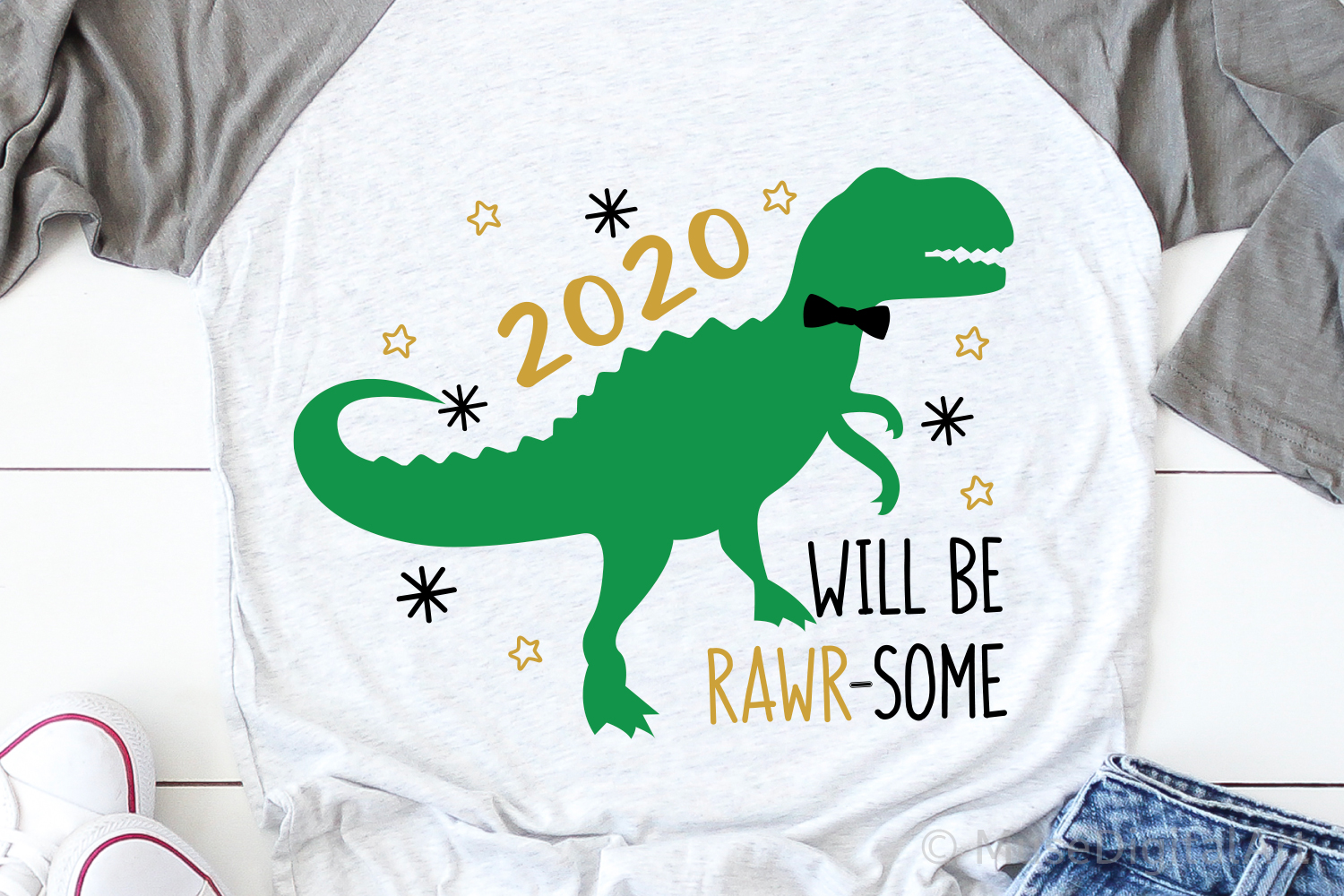 Kids New Years Svg, New Years 2020 Svg, New Years Dino Svg example image 1