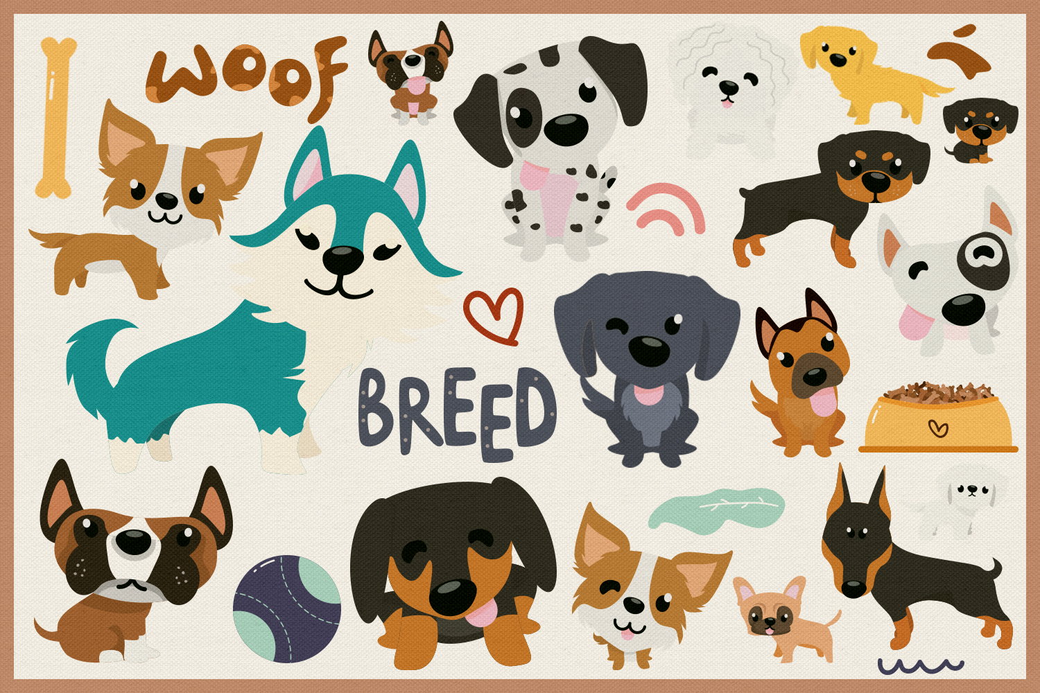 80 Cute Dog Vector Clipart & Seamless Patterns example image 2