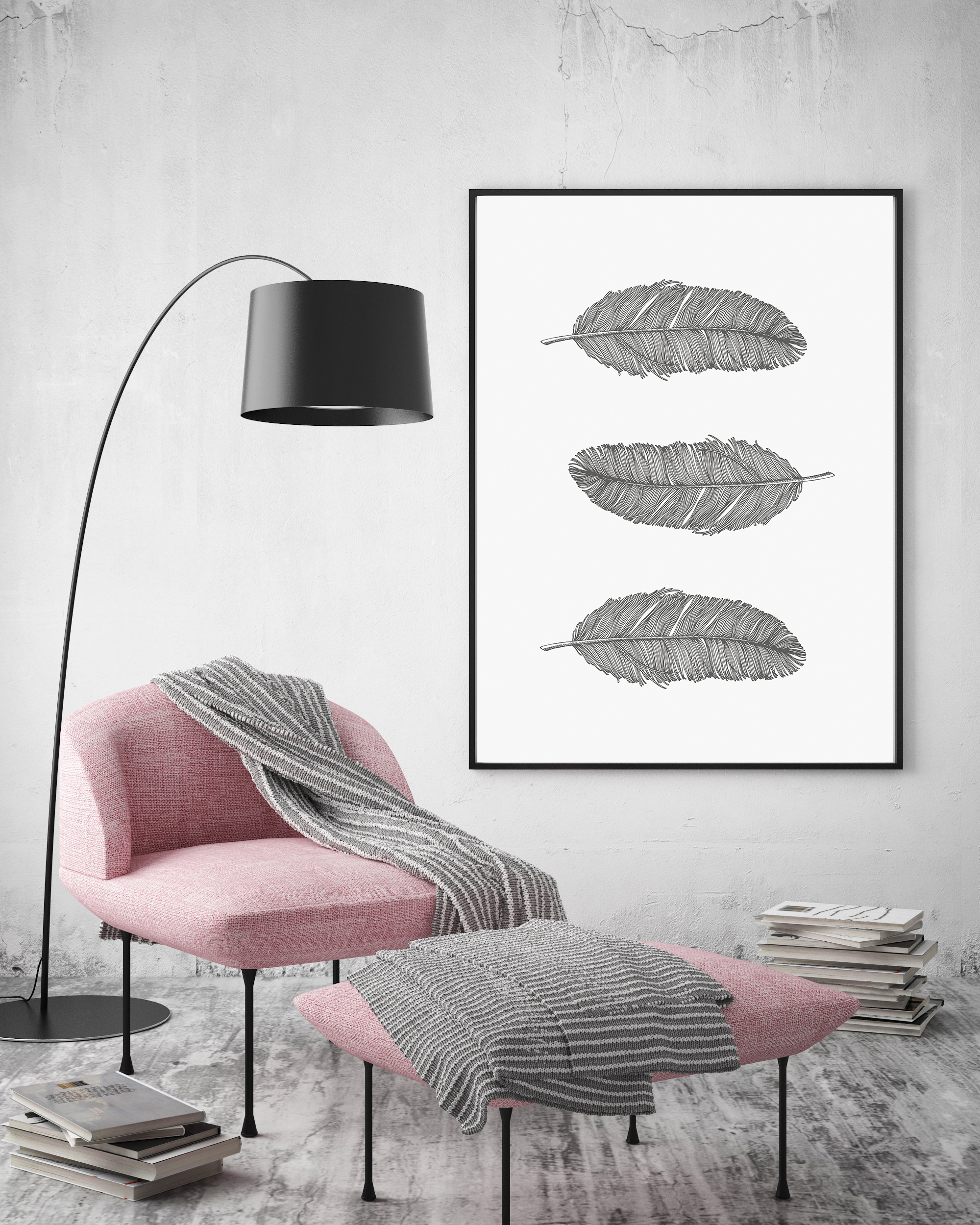 Gray Feathers Wall Art Printable, Bohemian Nursery Decor example image 5