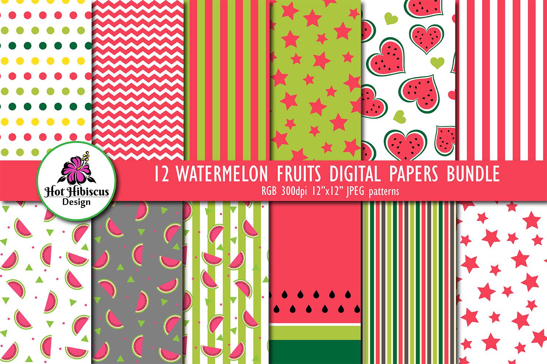 12 Summer Watermelon Fruit Patterns Digital Papers Bundle example image 1