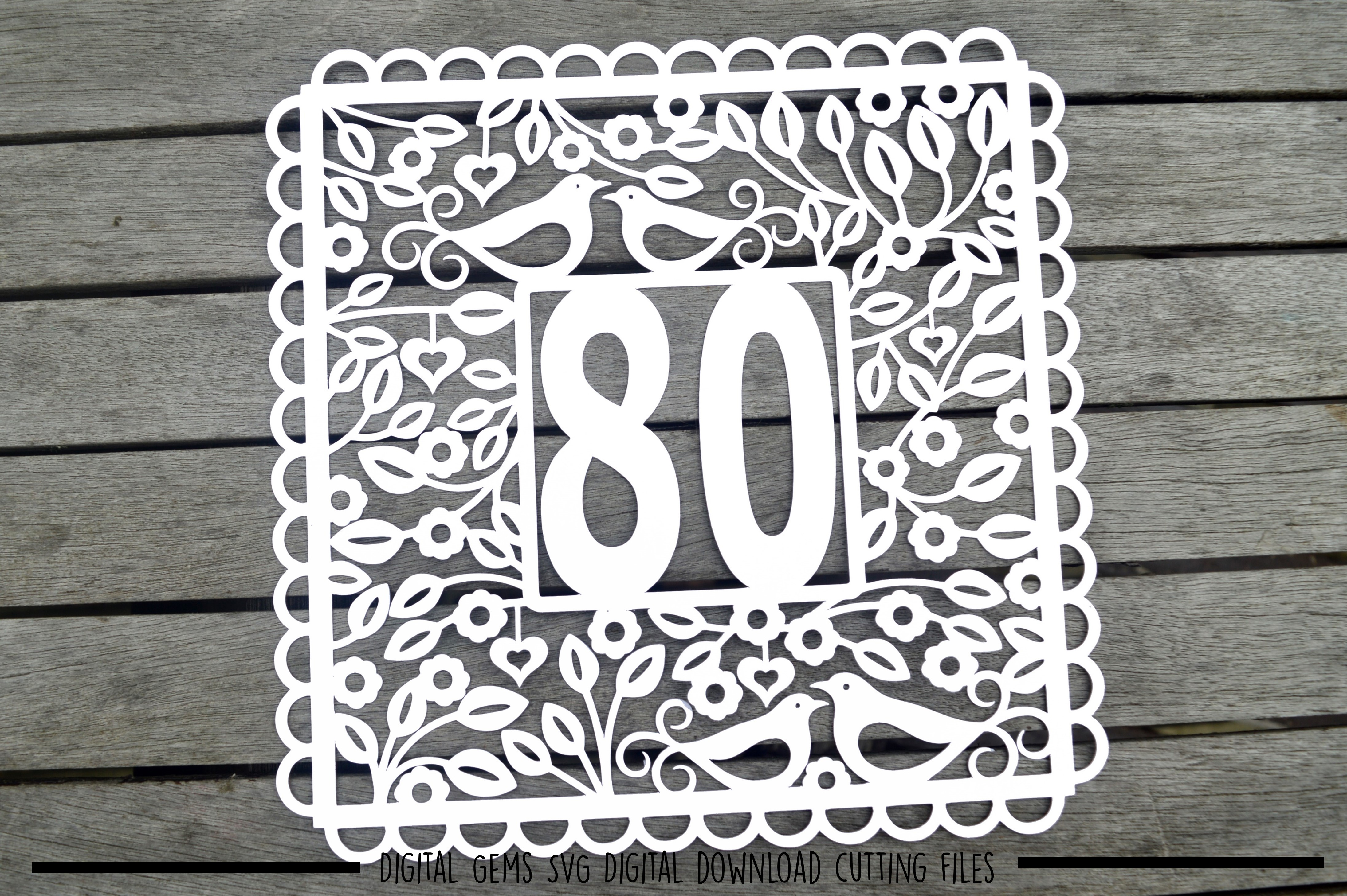 Number 80 paper cut SVG / DXF / EPS files example image 2