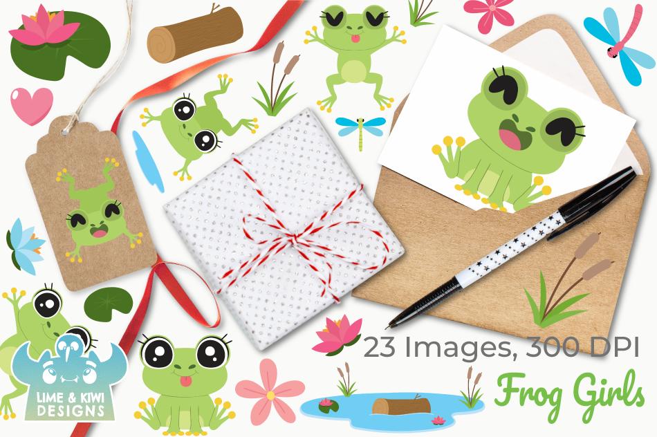 Frog Girls Clipart, Instant Download Vector Art example image 4