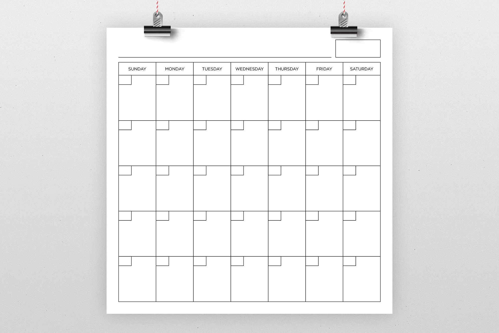Blank Calendar Page Template Set example image 7