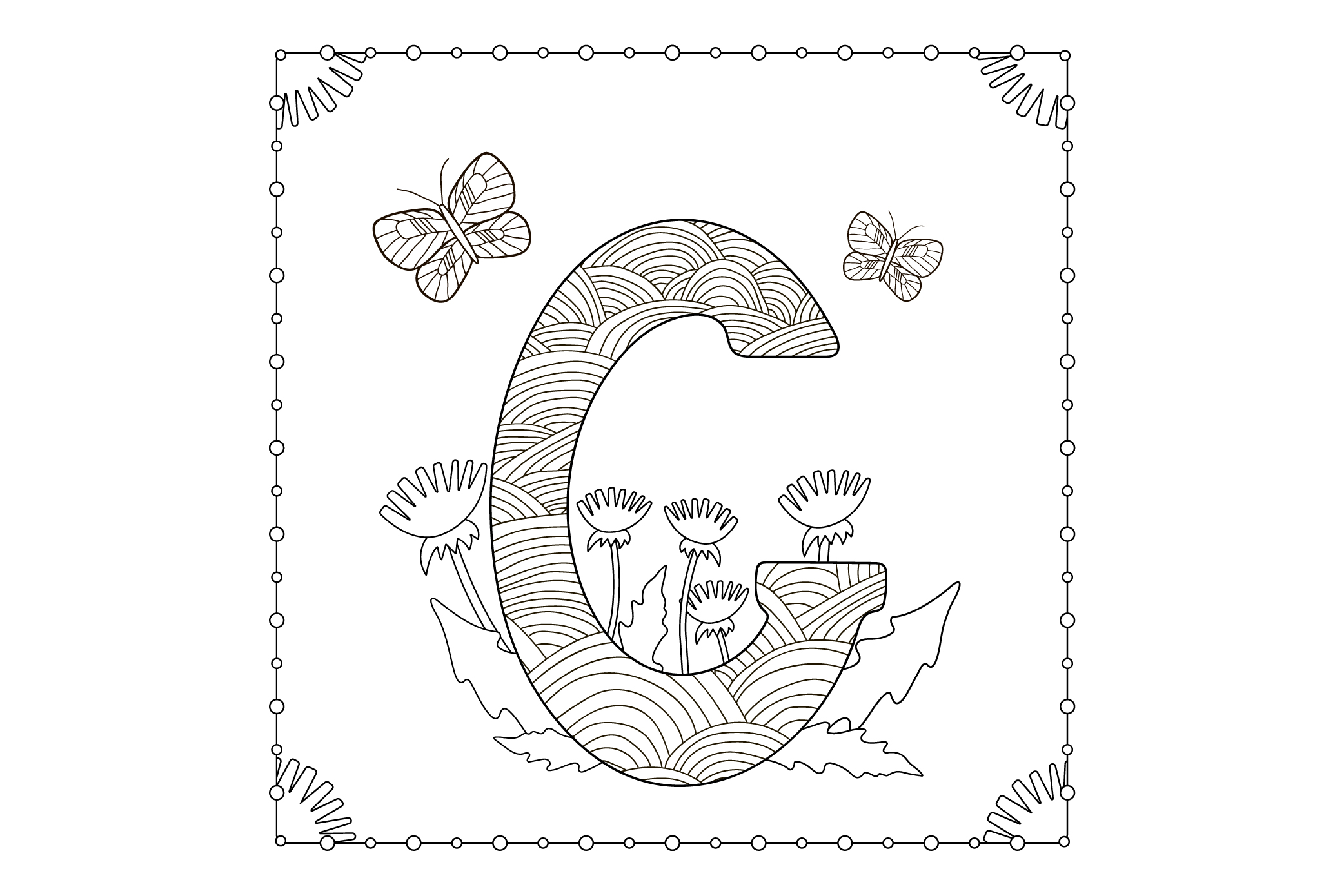 Letter G. Flowers. Coloring page. example image 1