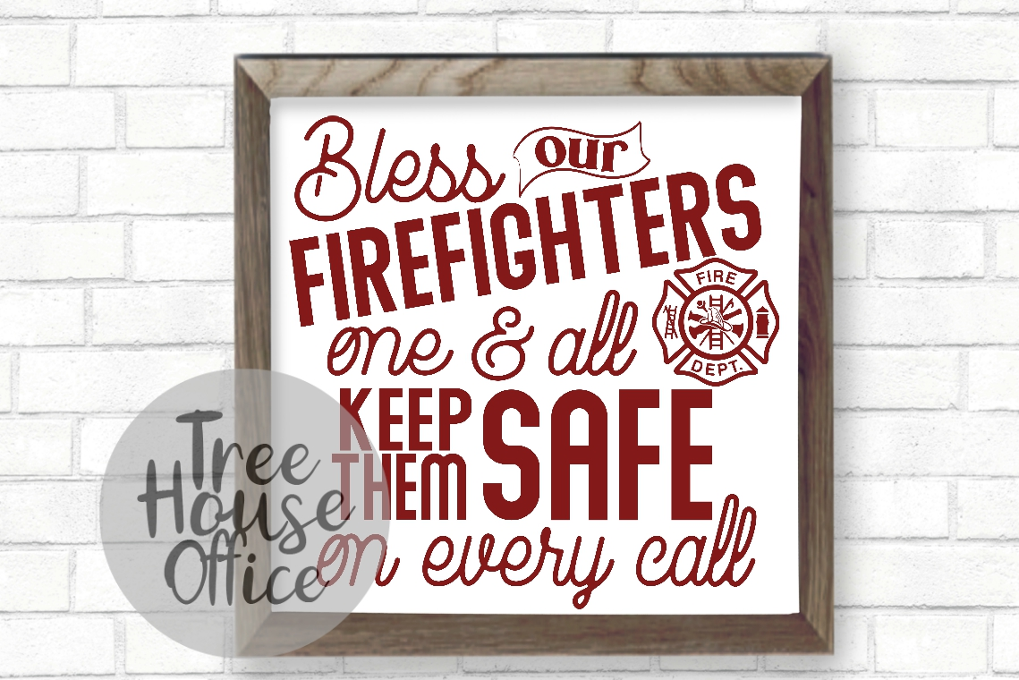 Bless Our Firefighters Fireman Maltese Fire Wife SVG DXF JPG example image 2