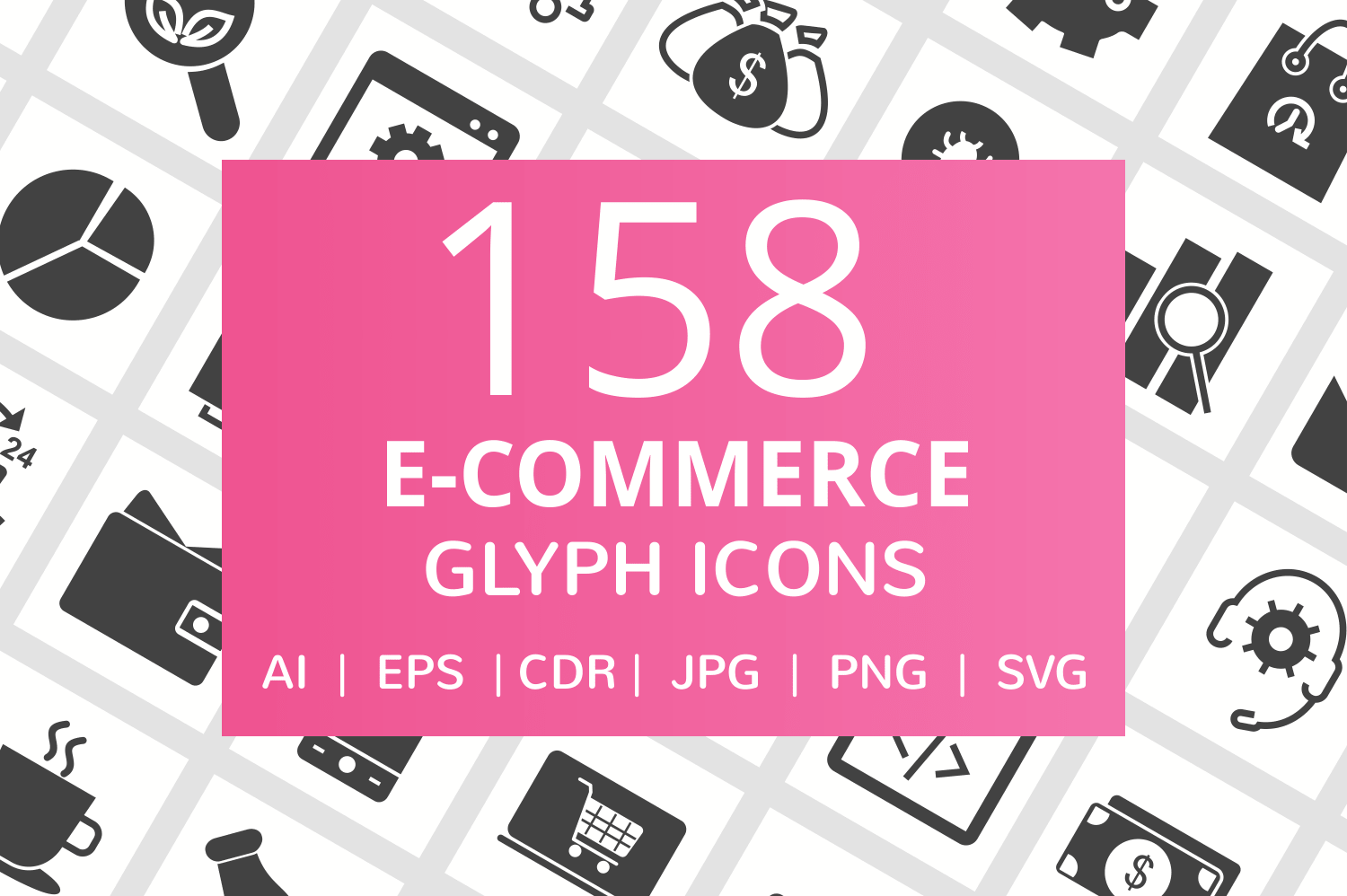 158 E-Commerce Glyph Icons example image 1