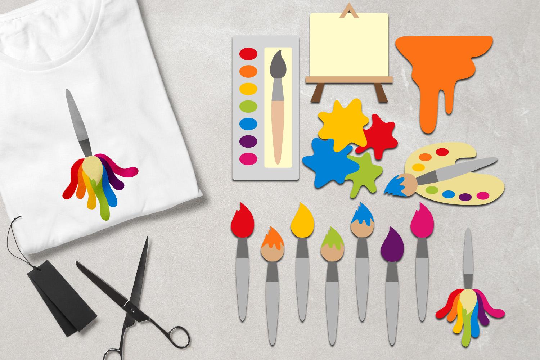 Art supplies - Painting, brush paint, canvas, palette example image 1