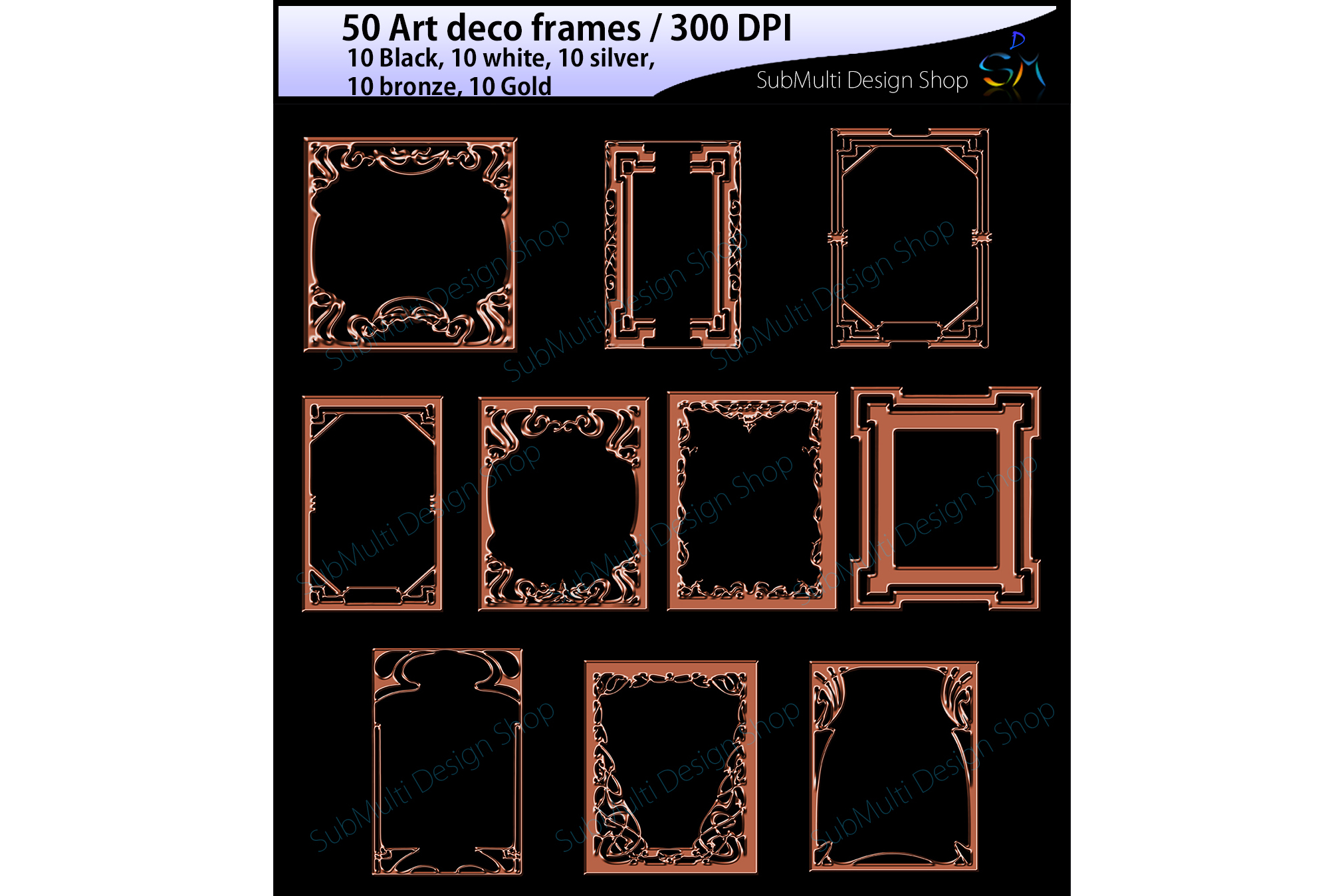 art deco frames / art deco frames clipart / art deco frames silhouette / art deco gold frames / art deco silver frame / High Quality example image 2
