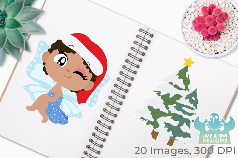 Christmas Fairies 2 Clipart, Instant Download Vector Art example image 3