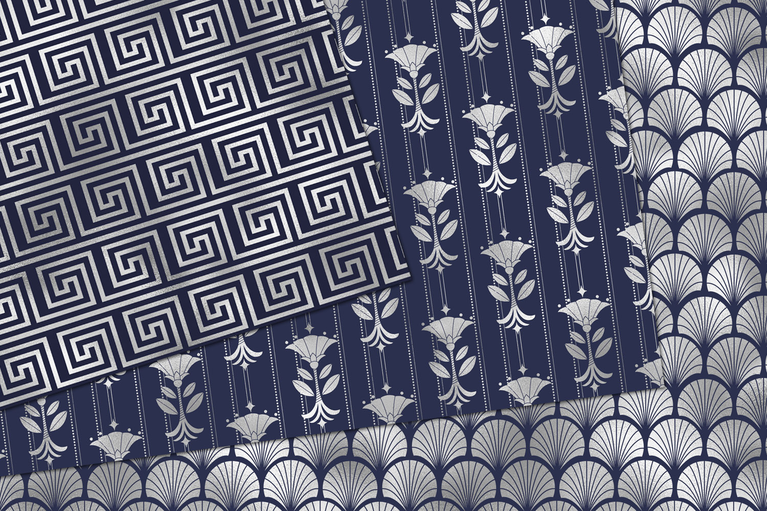 Navy and Silver Art Deco Digital Paper example image 3