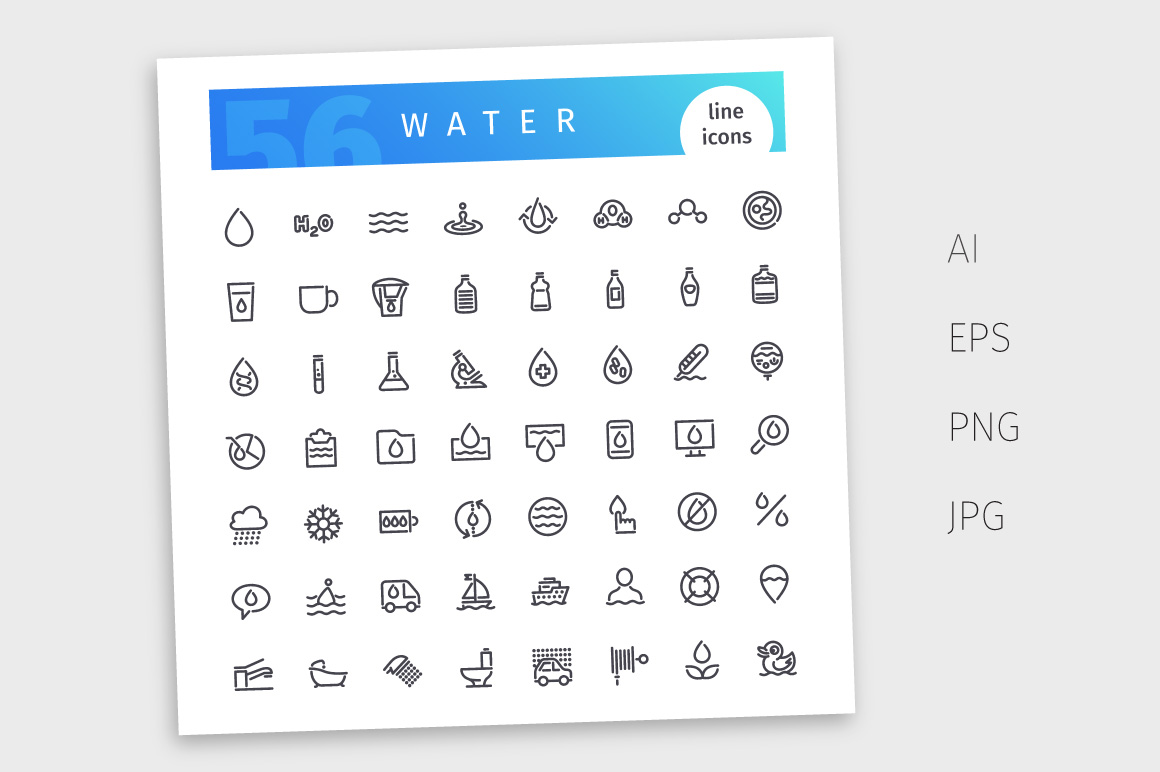 Water Line Icons Set example image 4