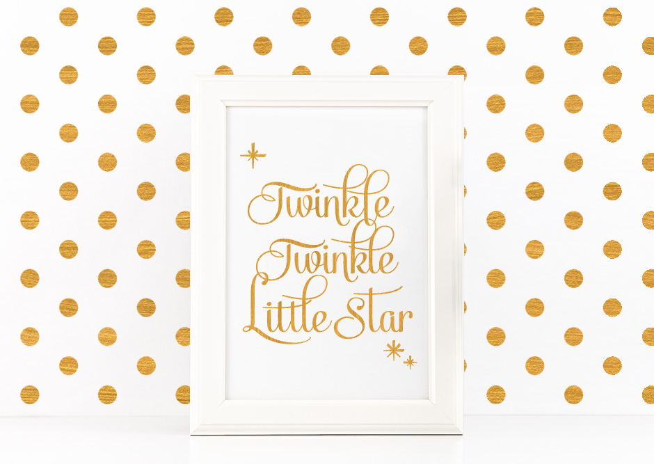 Twinkle Twinkle Little Star Quote Printable Poster Romantic Quote in Gold + SVG files example image 1