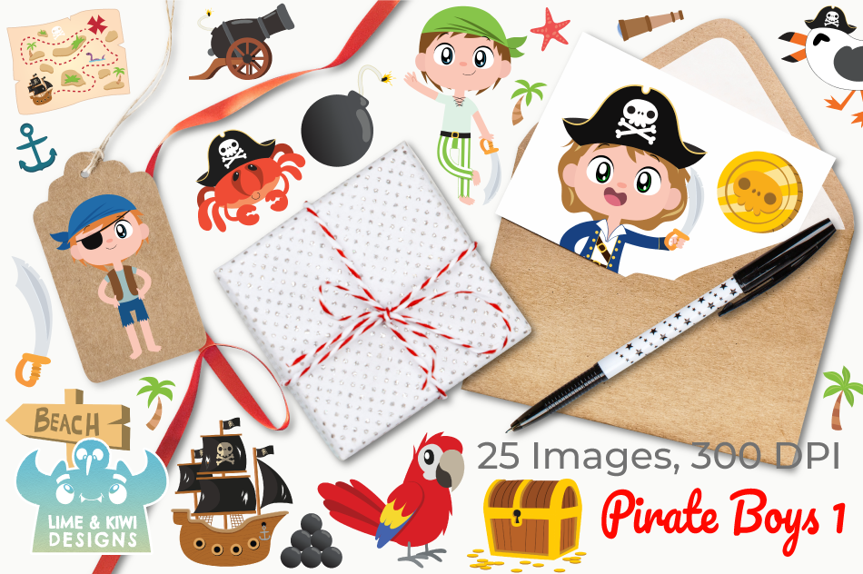 Pirate Boys 1 Clipart, Instant Download Vector Art example image 4