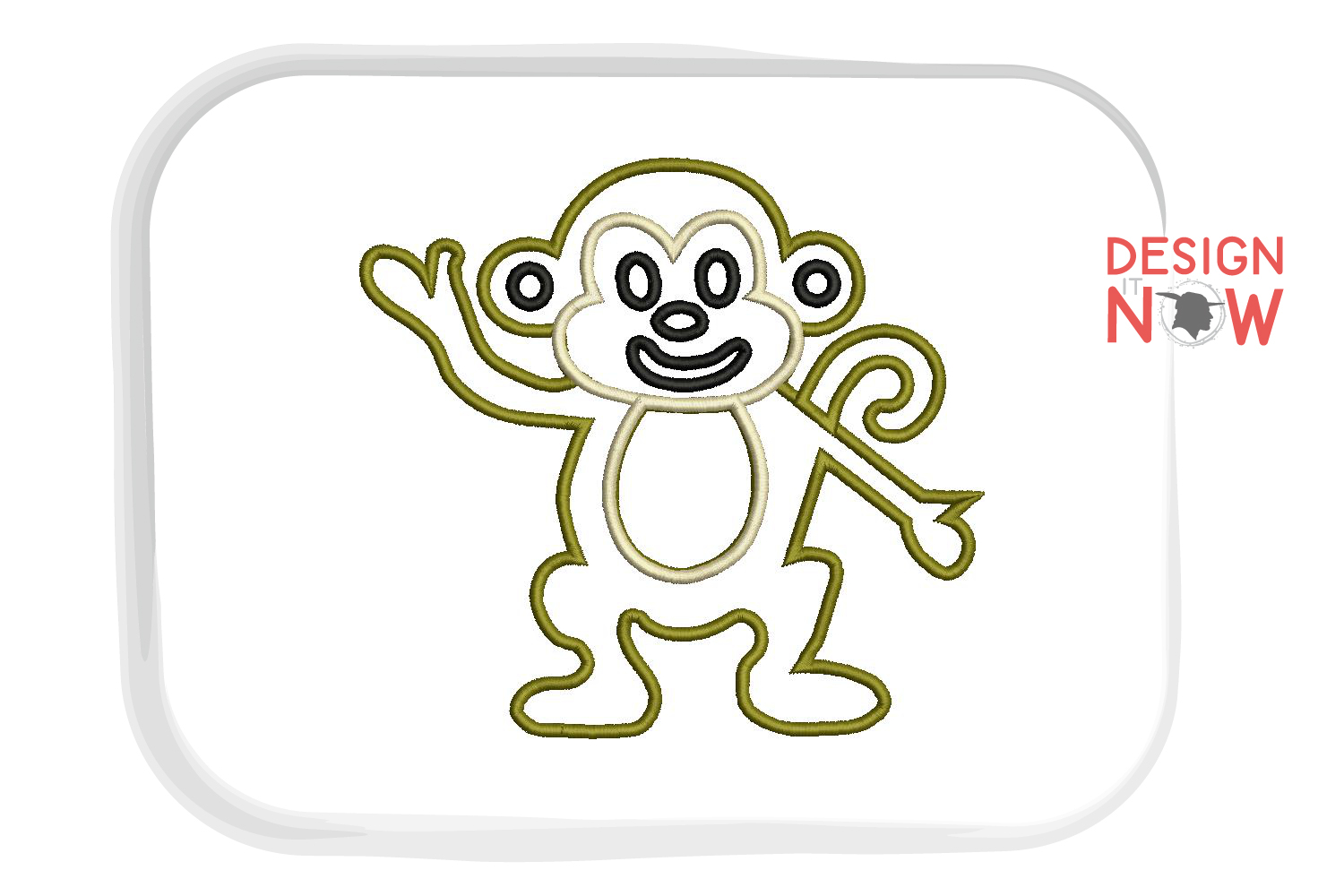 Monkey Applique Embroidery Design, Monkey Embroidery Pattern example image 2