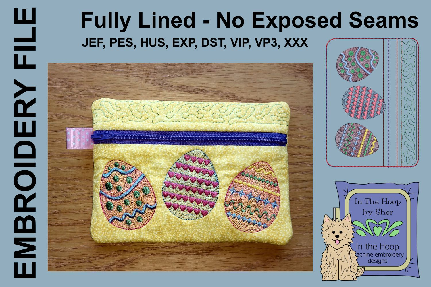 ITH Easter Eggs Zipper Bag - Fully Lined, 5X7 HOOP example image 1