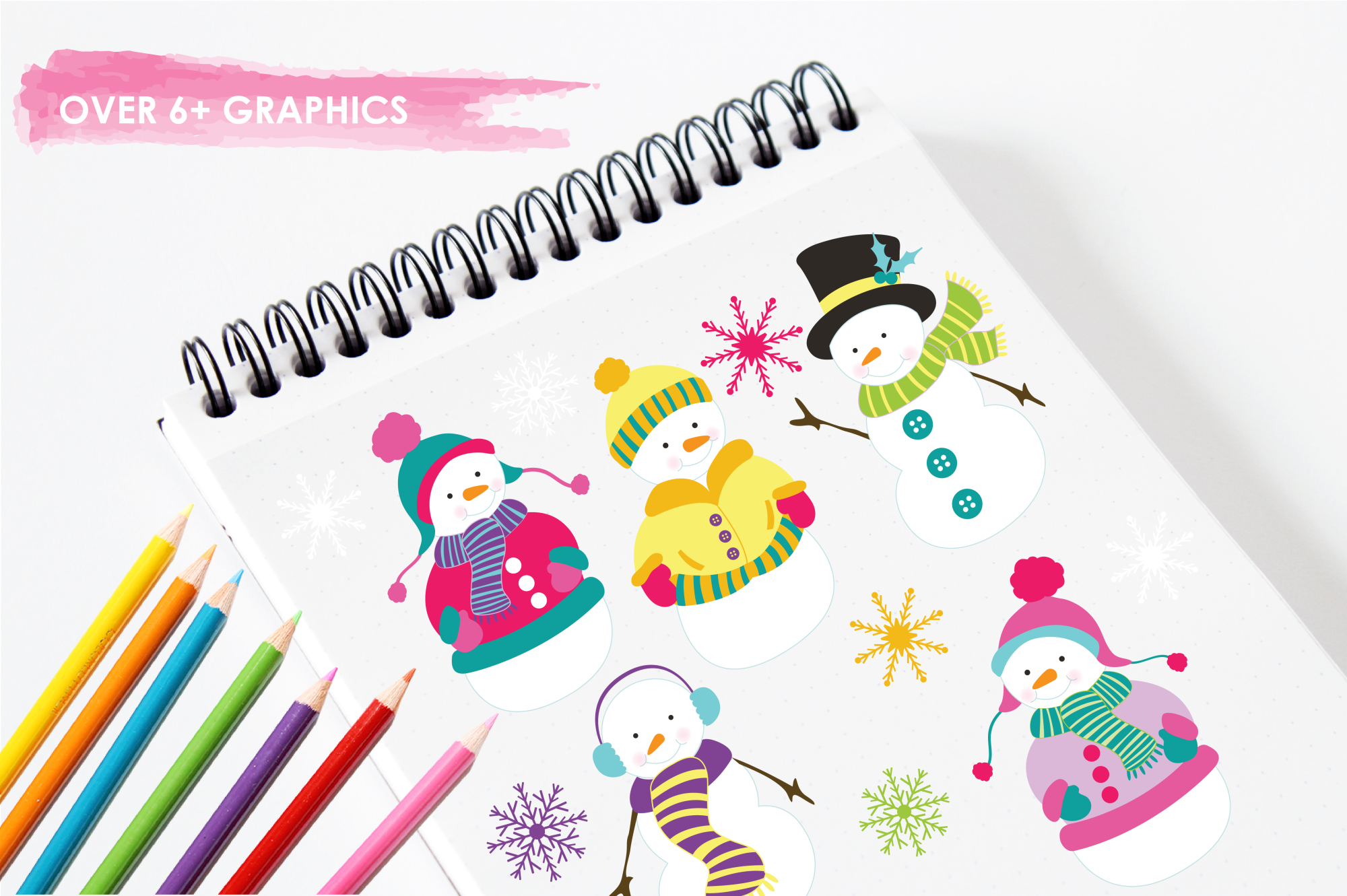 Colorful Snowmans graphics and illustrations example image 3