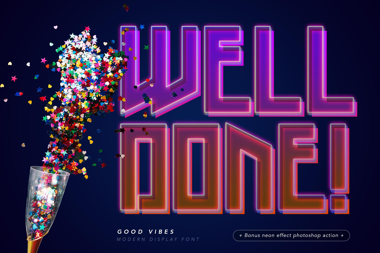 Good Vibes - Modern Neon Display Font example image 4