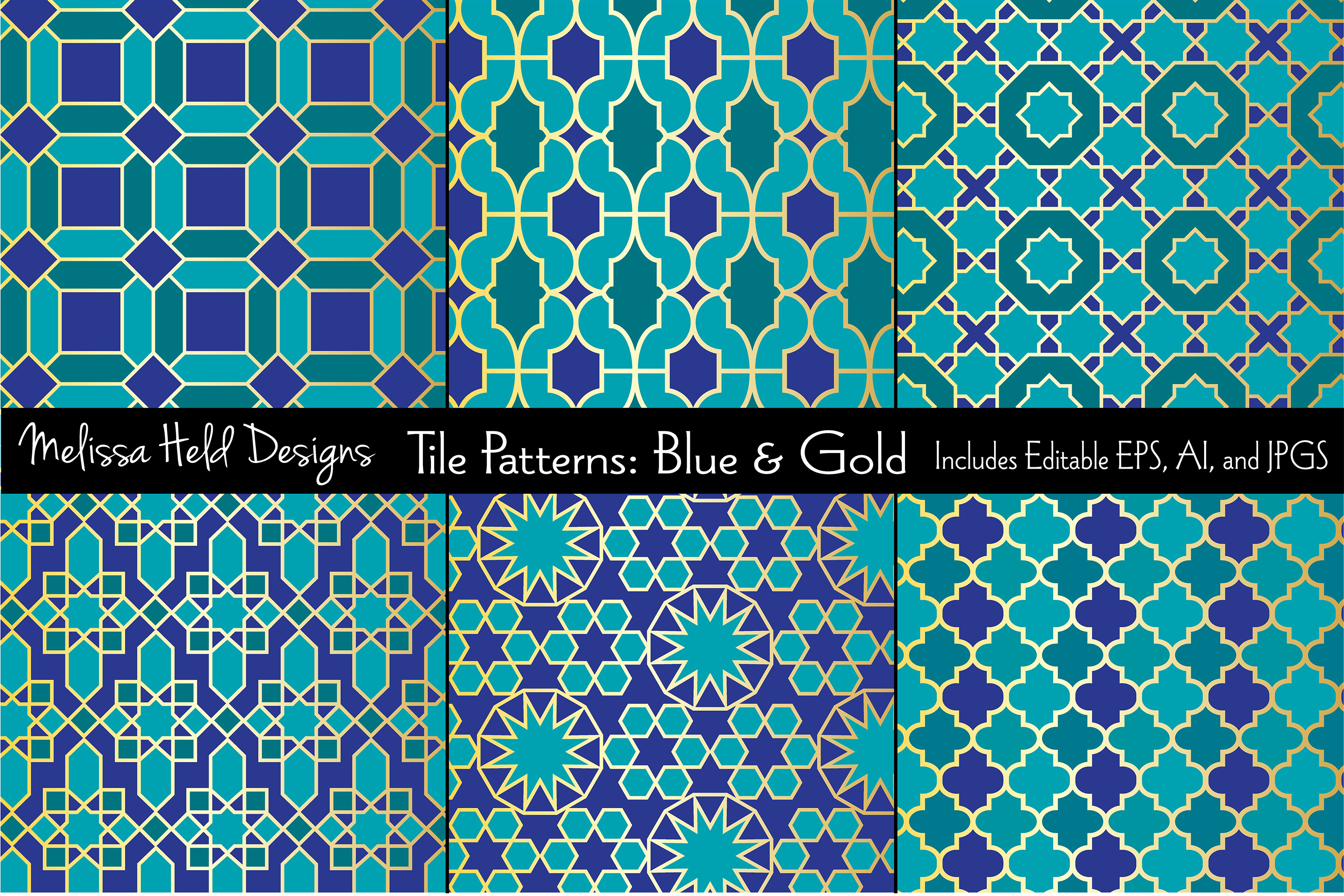 Blue Gold Moroccan Tile Patterns Example Image 1