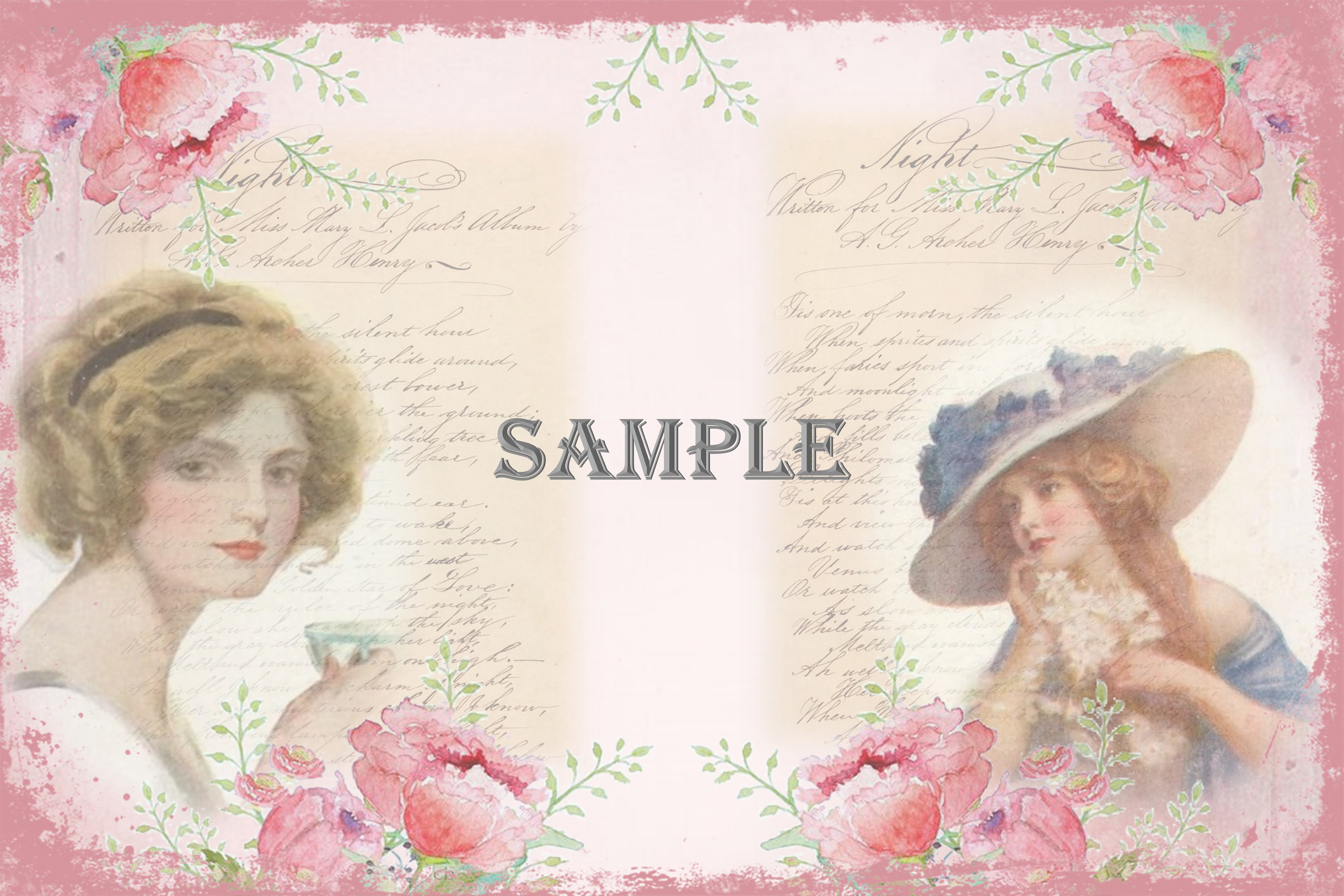 Vintage Ladies Backgrounds, Collage or Journal Sheets, A4 example image 3