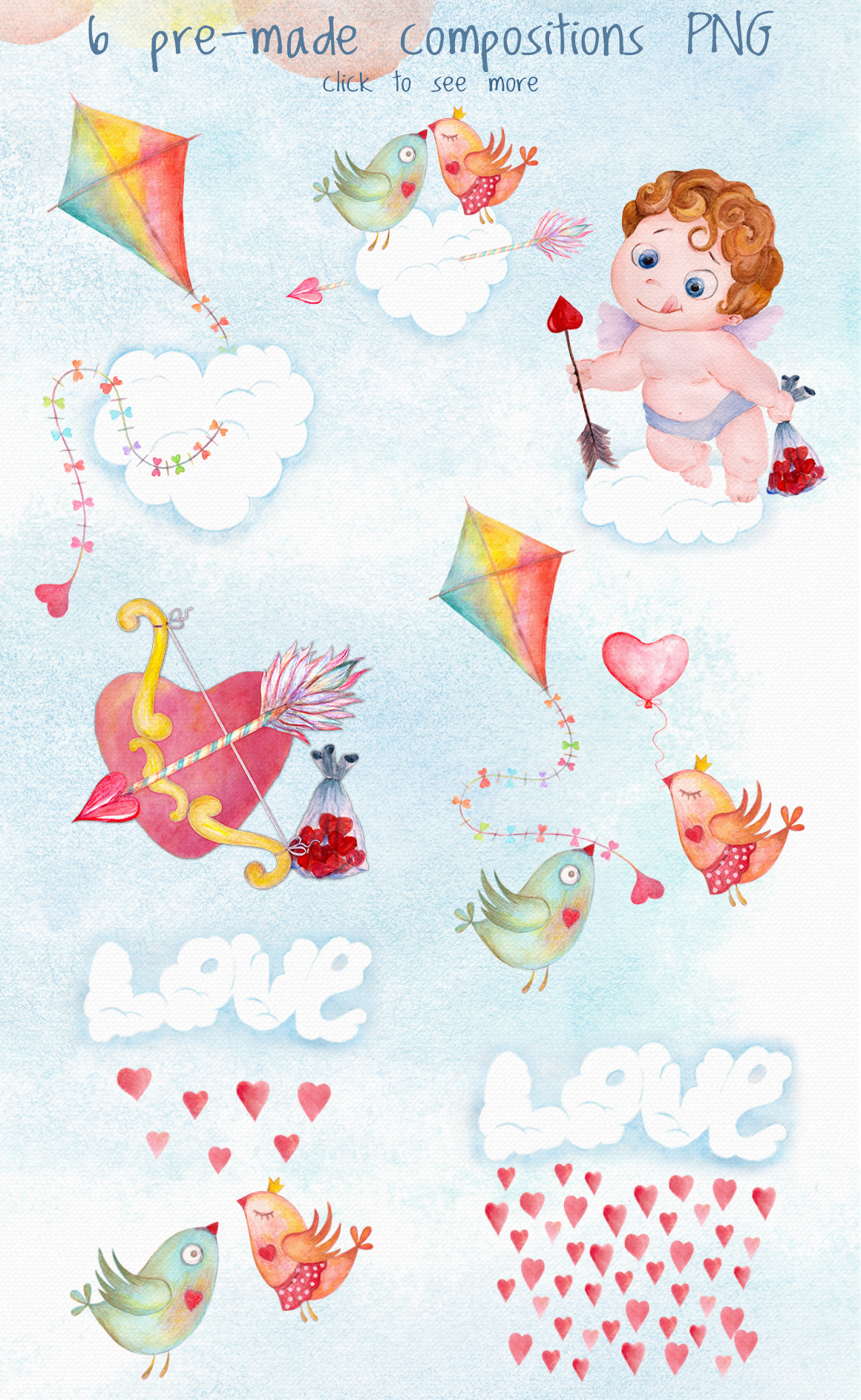 Romantic watercolor set. Love is in the air example image 3