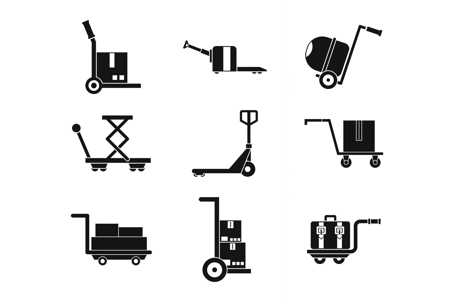 Wharehouse cart icon set, simple style example image 1