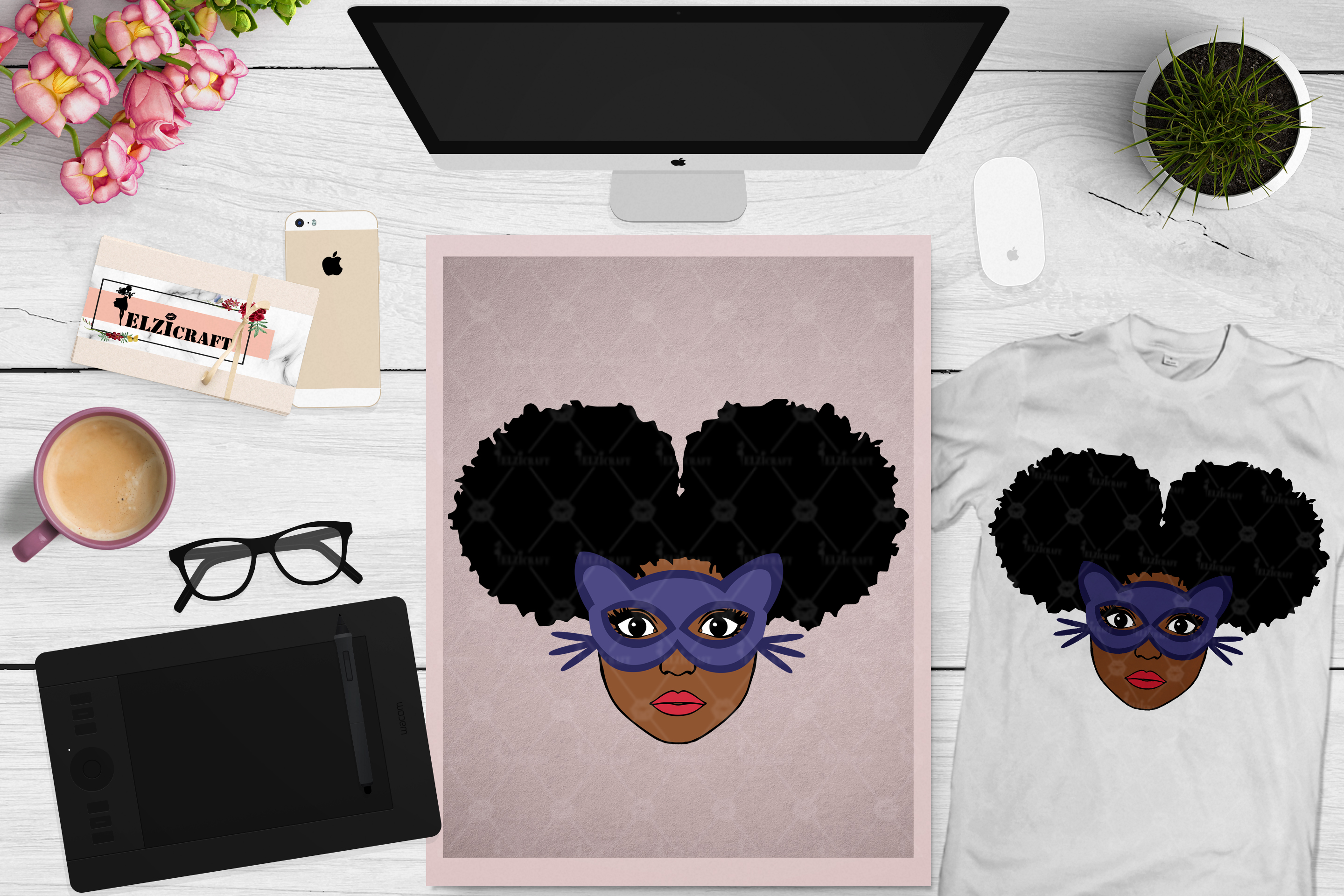 BUNDLE Afro Girl, Afro Girl Face, BAE, BHM SVG Cut File example image 5