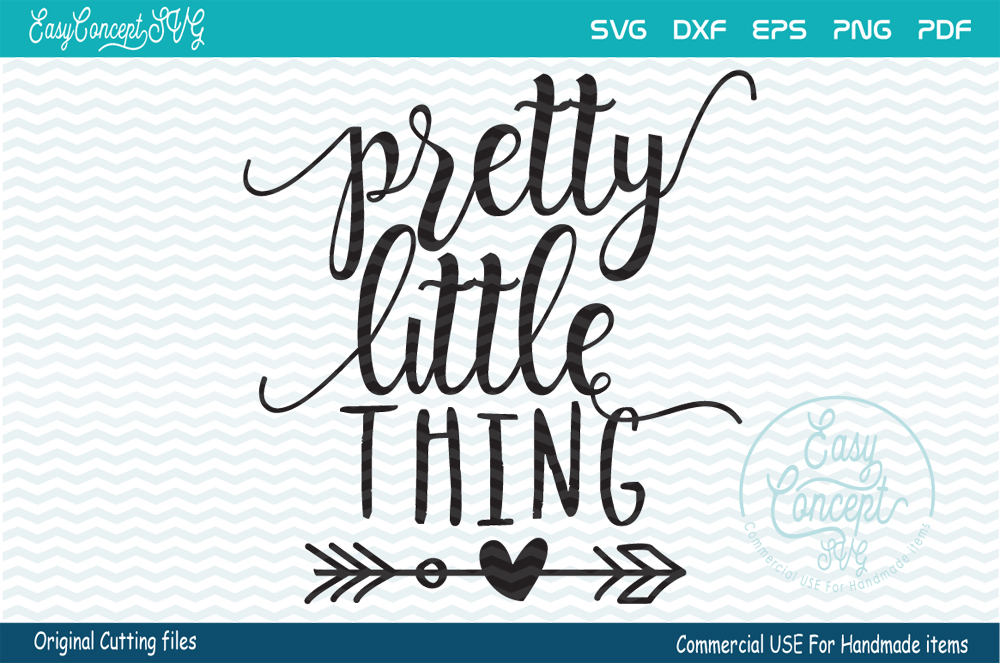 Pretty Little Thing, SVG - DXF - PNG - EPS - PDF Original Cut files example image 2