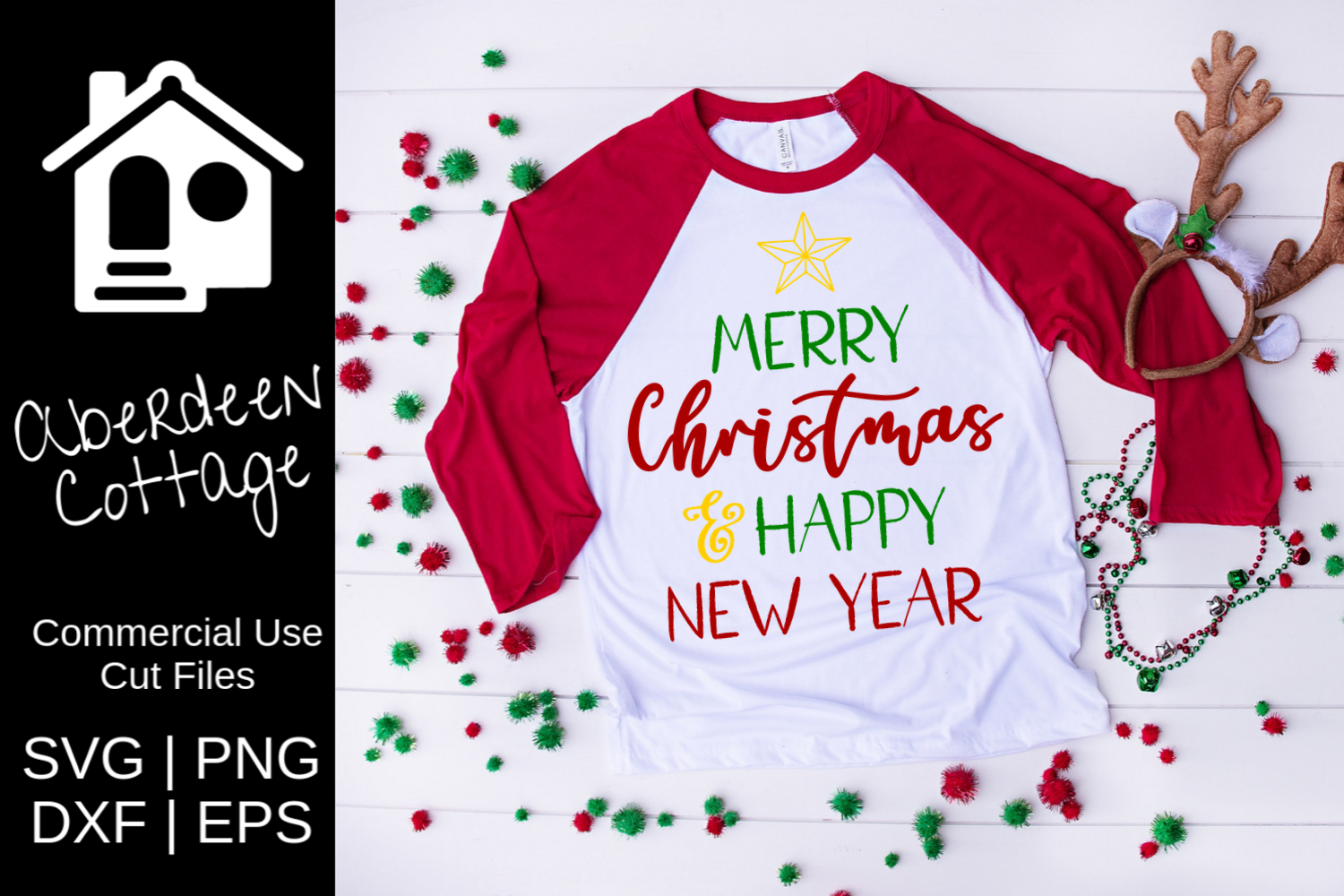 Merry Christmas Happy New Year Design example image 1