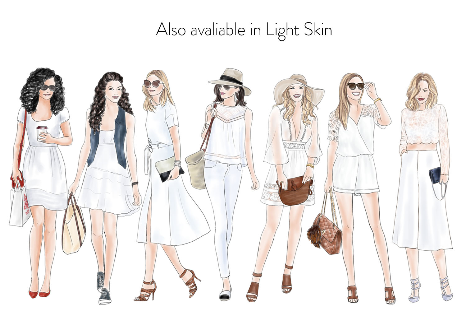 Fashion illustration clipart - Girls in summer white - Dark skin example image 4