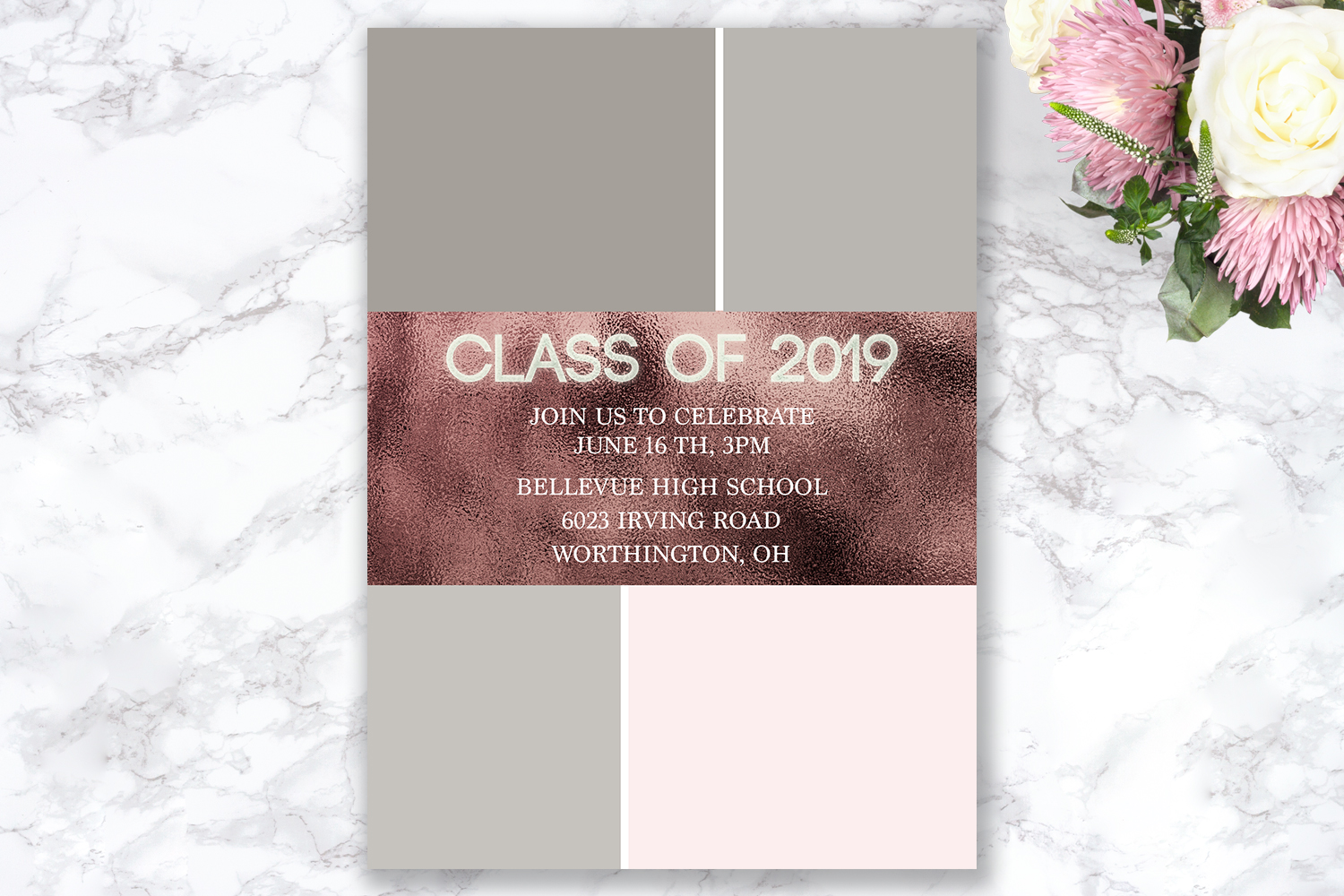 Senior Announcement Card - Rose gold - Photoshop Template example image 5