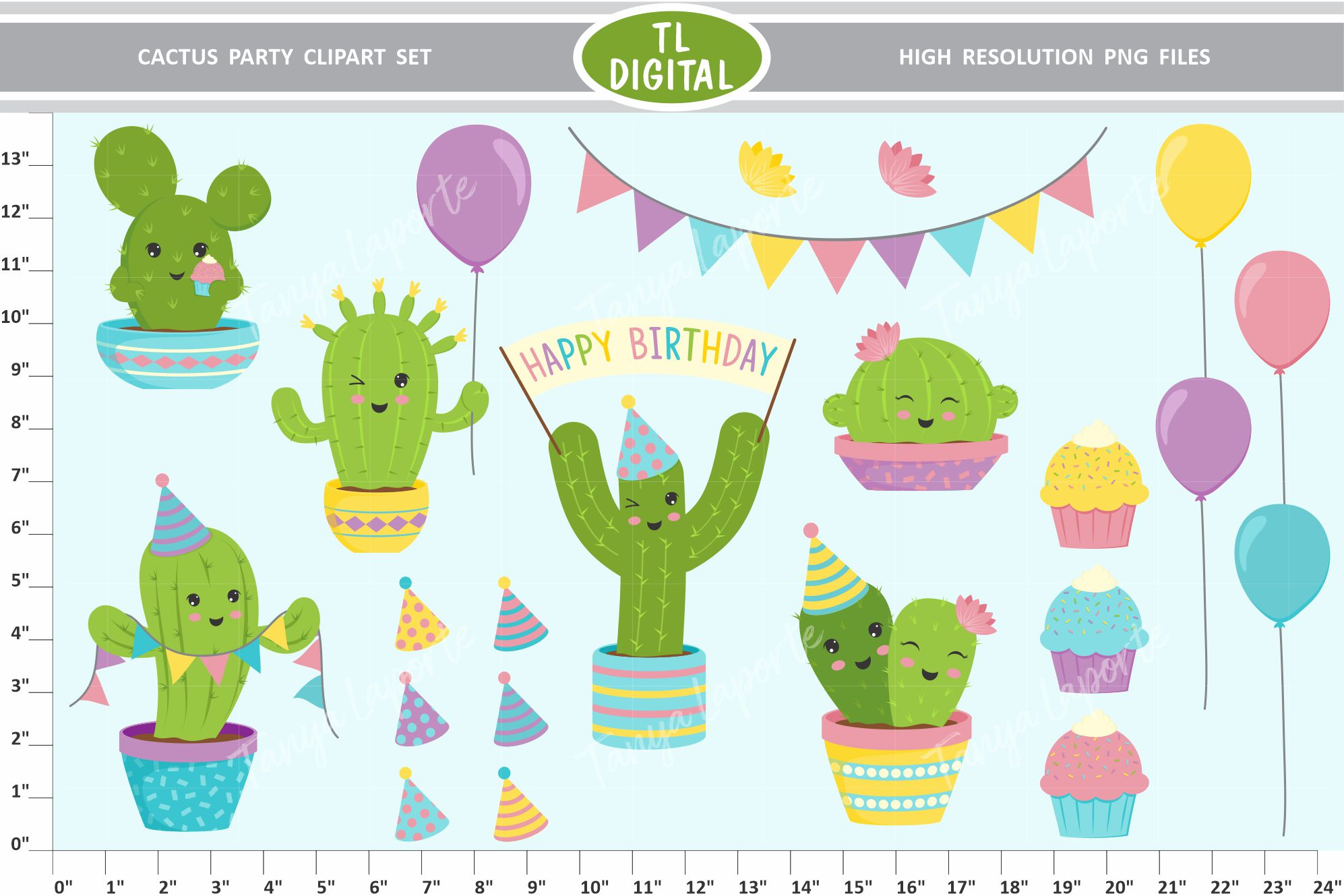 Cactus Party Clipart Set - 22 Birthday Graphics - PNG Files example image 1