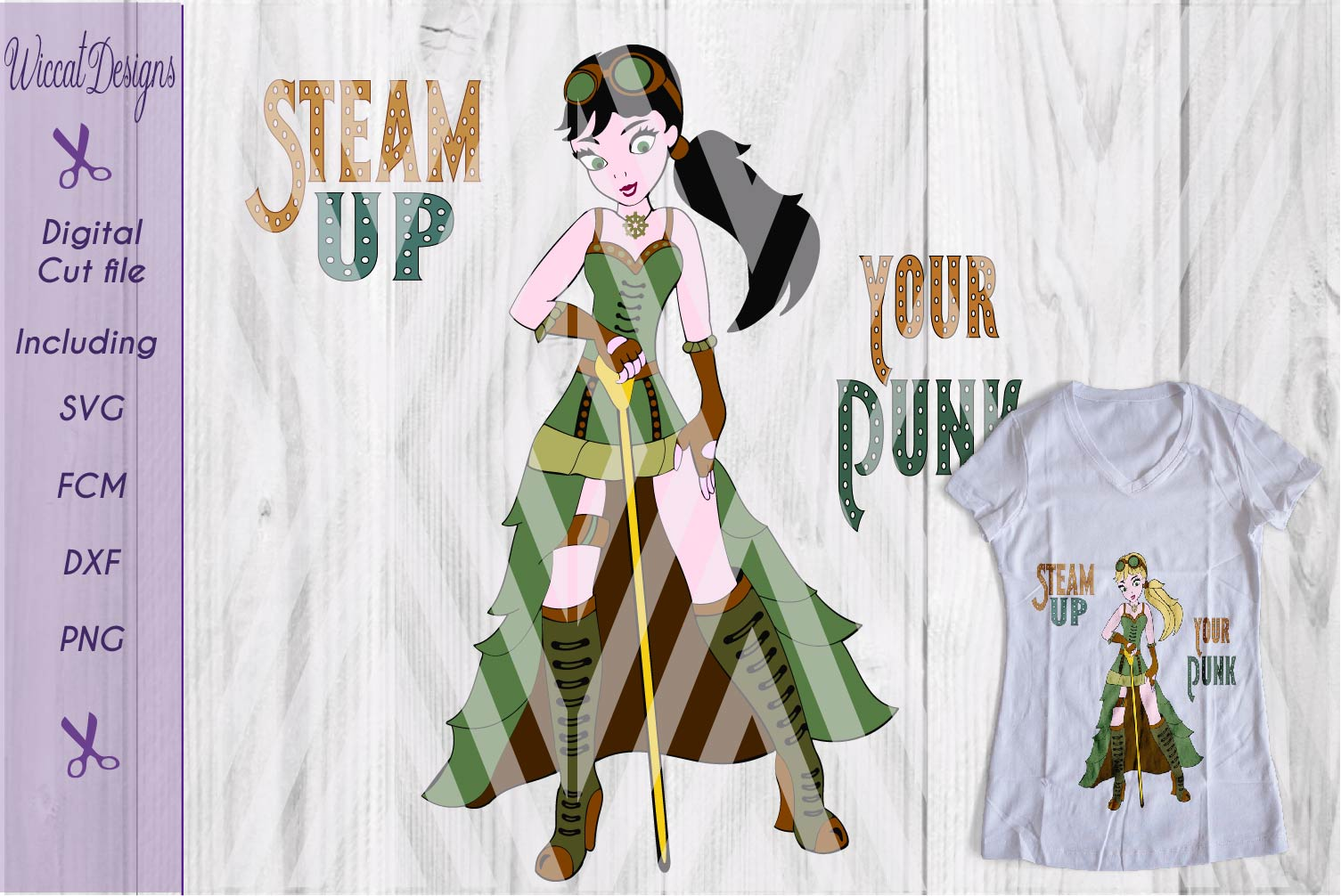 Steampunk svg, girl svg, Characters svg, fantasy svg,  example image 1