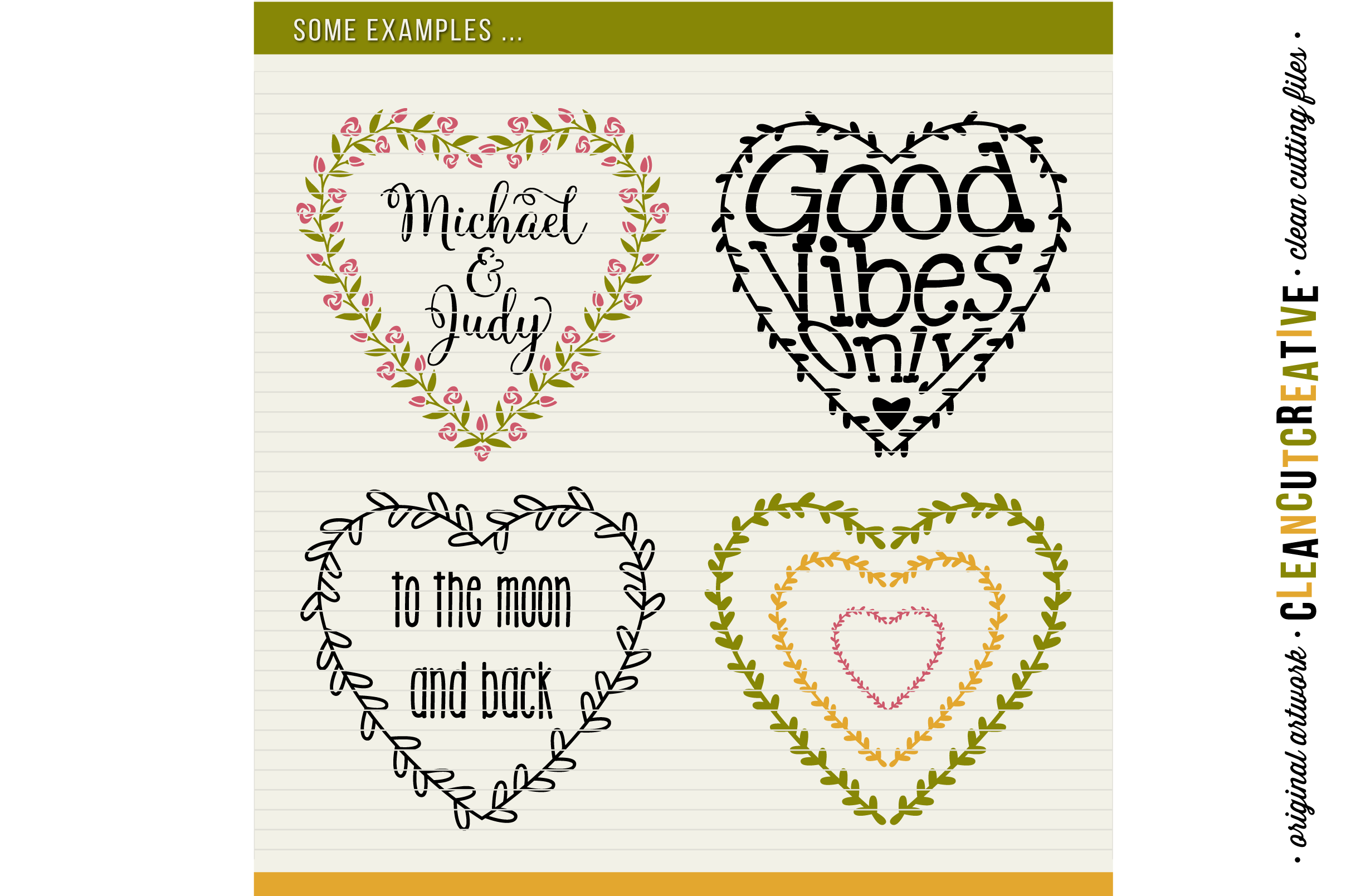 8 svg FLORAL HEARTS floral leaf heart wreath frames - SVG DXF EPS PNG - for Cricut and Silhouette Cameo - clean cutting digital files example image 4