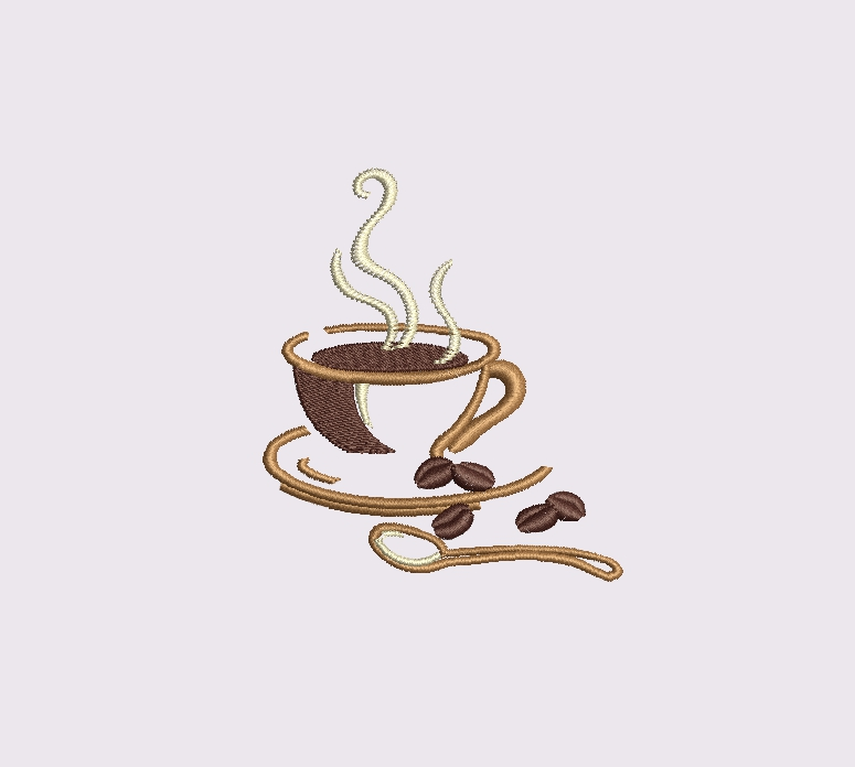 Coffee set - machine embroidery designs. 2 designs, 6 sizes example image 2