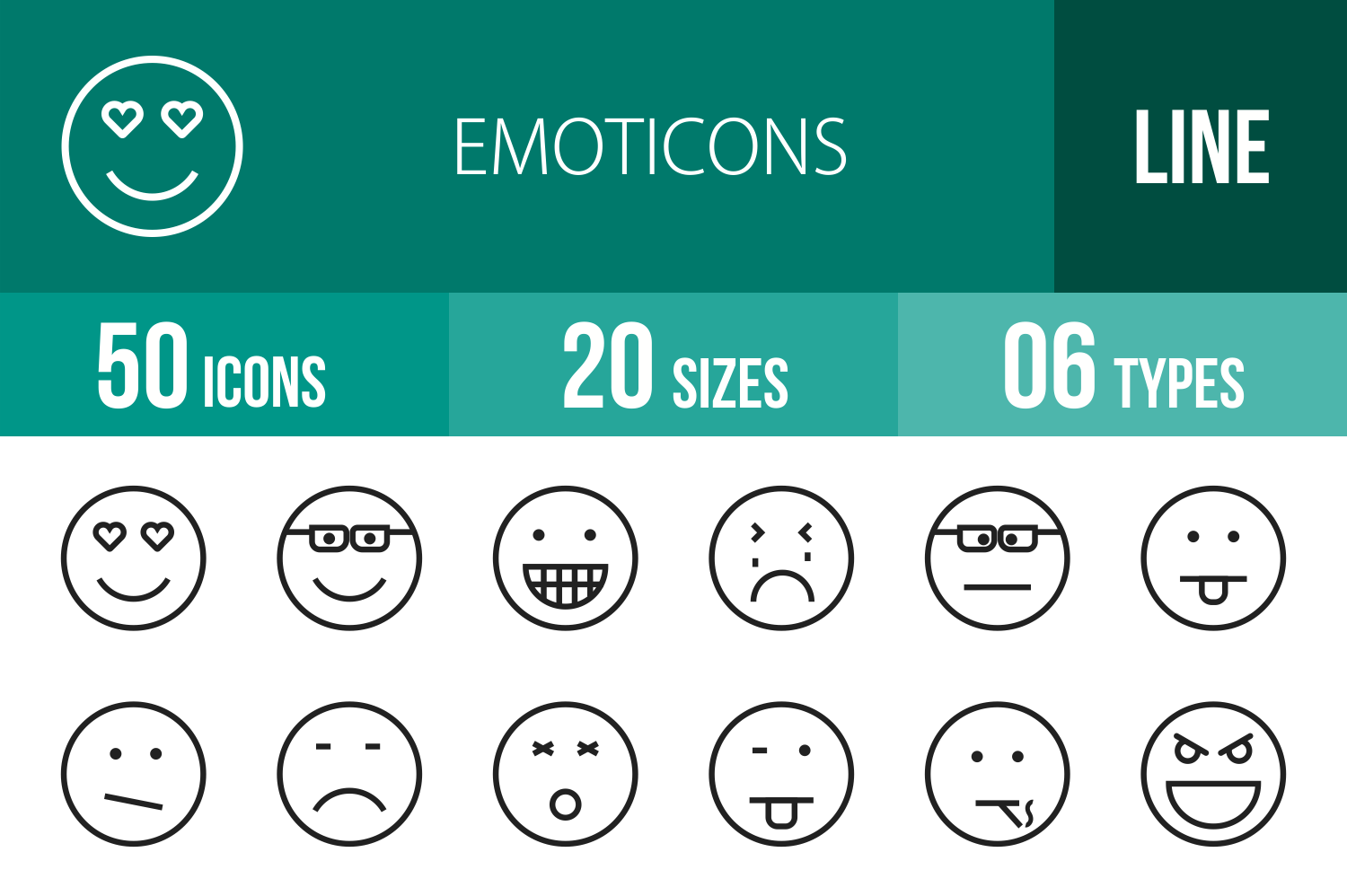 50 Emoticons Line Icons example image 1
