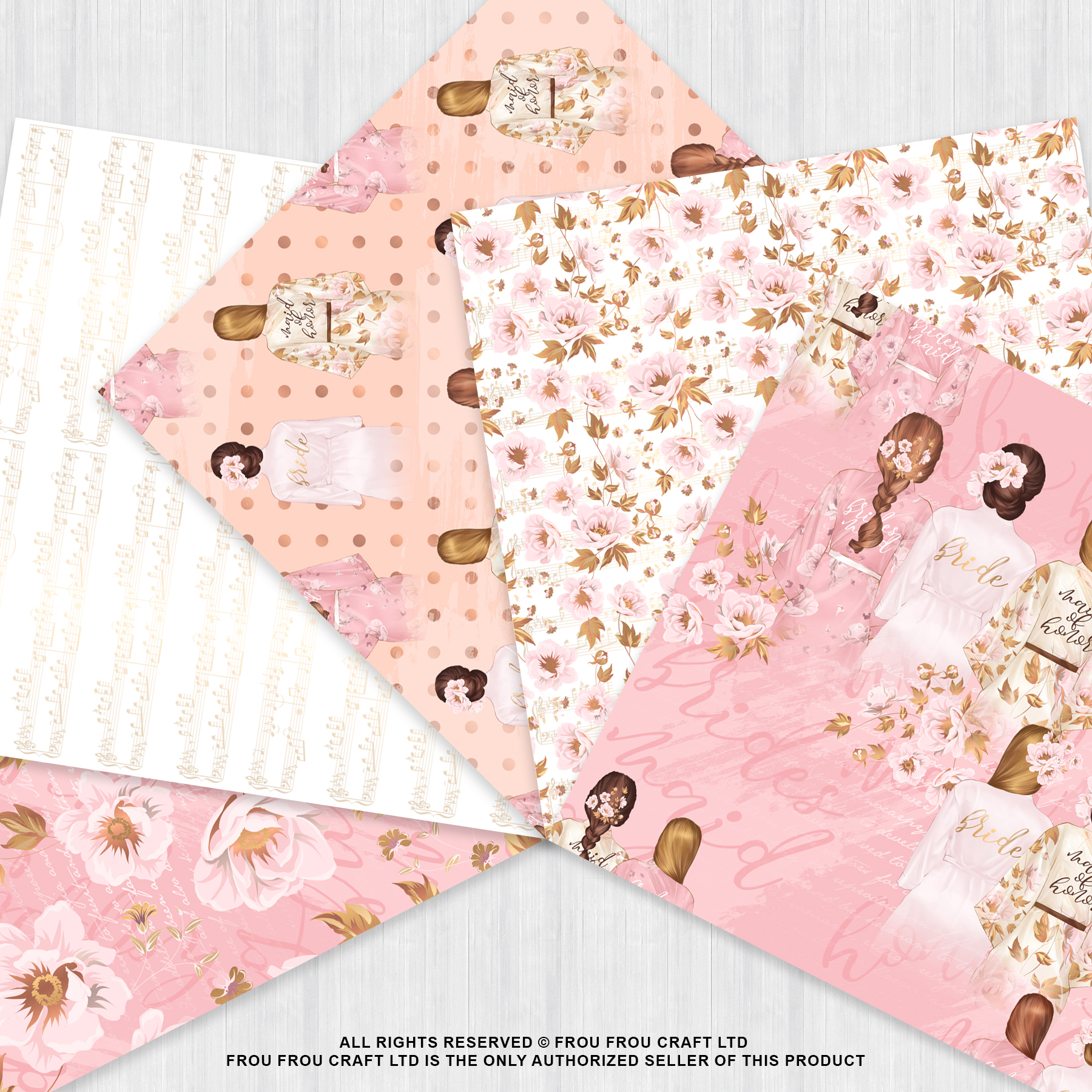 Bride And Maids Wedding Pink Gold Paper Pack example image 3
