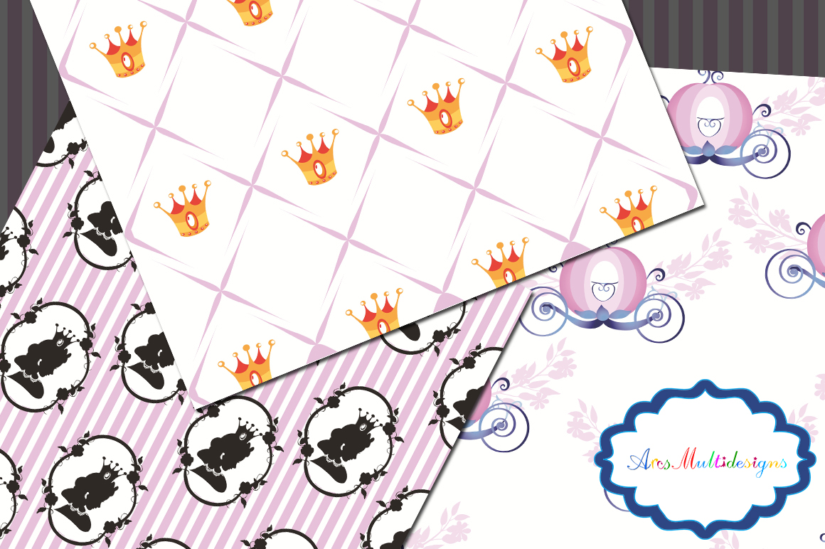 princess digital paper / cameo princess pattern / cameo princess background / high quality digital set 12 x 12 example image 2