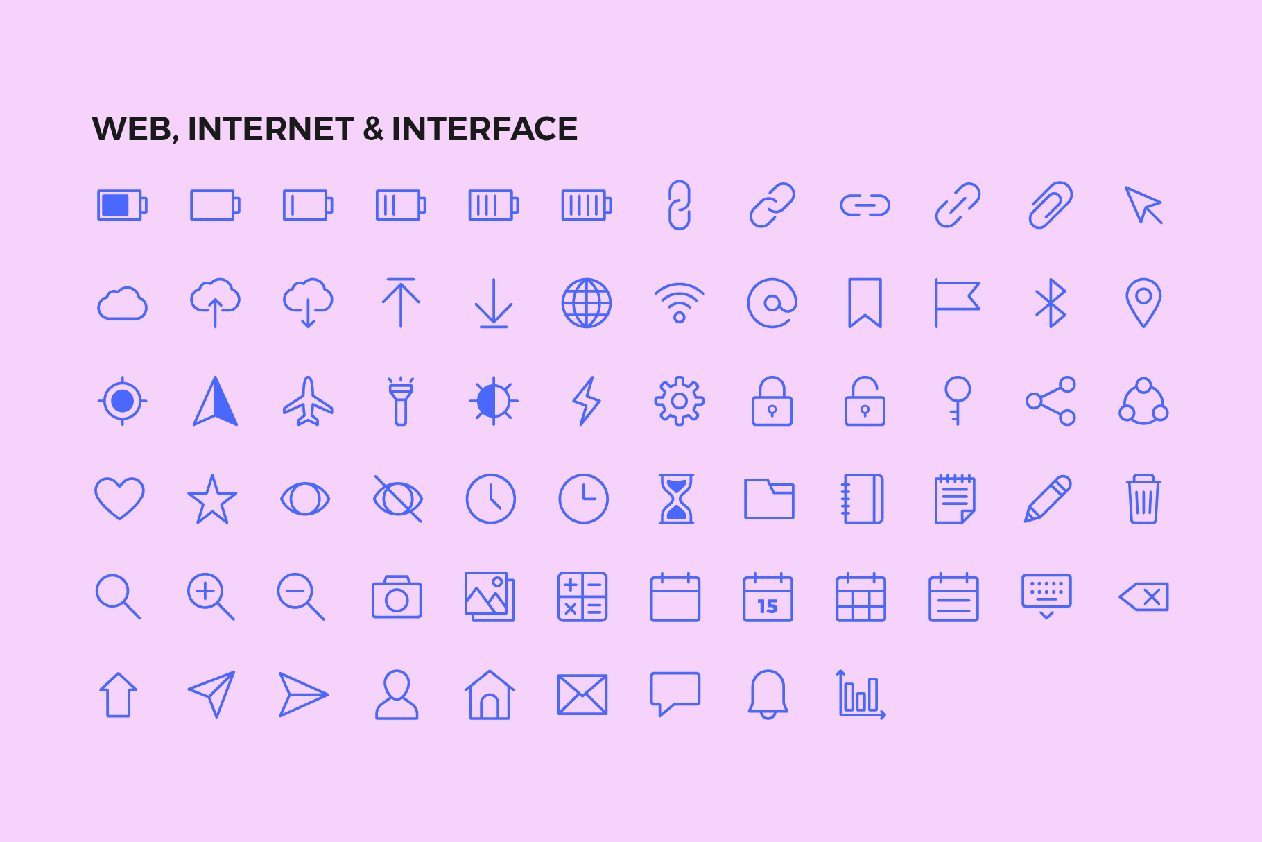 250 User Interface Line Icons example image 6