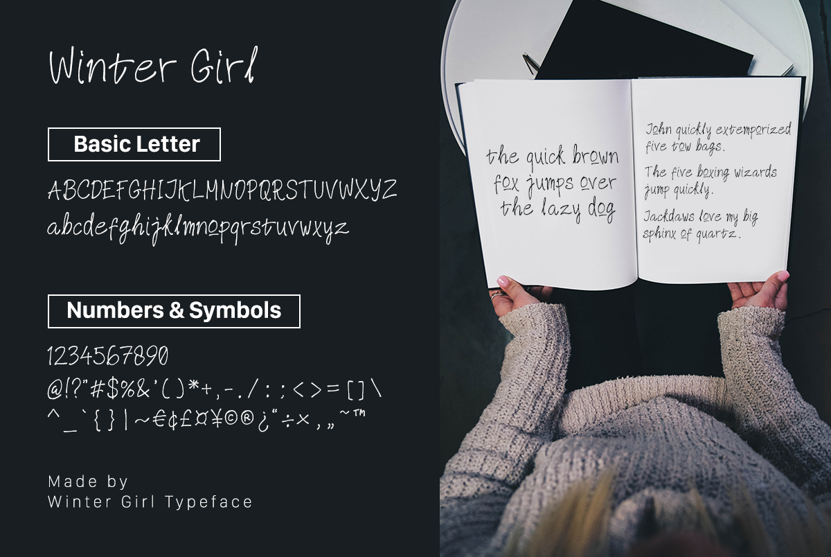 Winter Girl Font & Watercolor Winter Theme Bundle example image 6