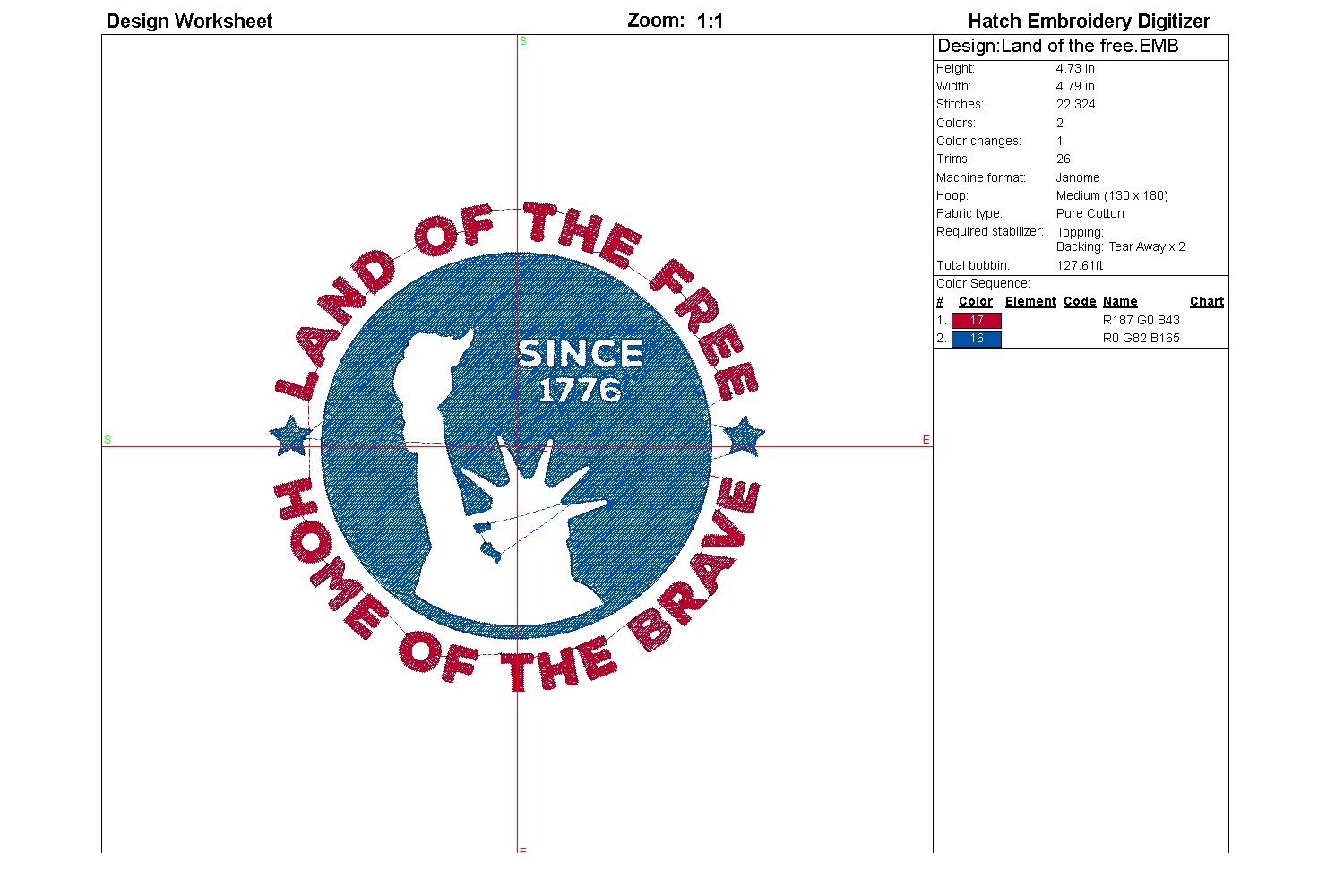 Land of the free| Independence day | Machine embroidery| example image 3