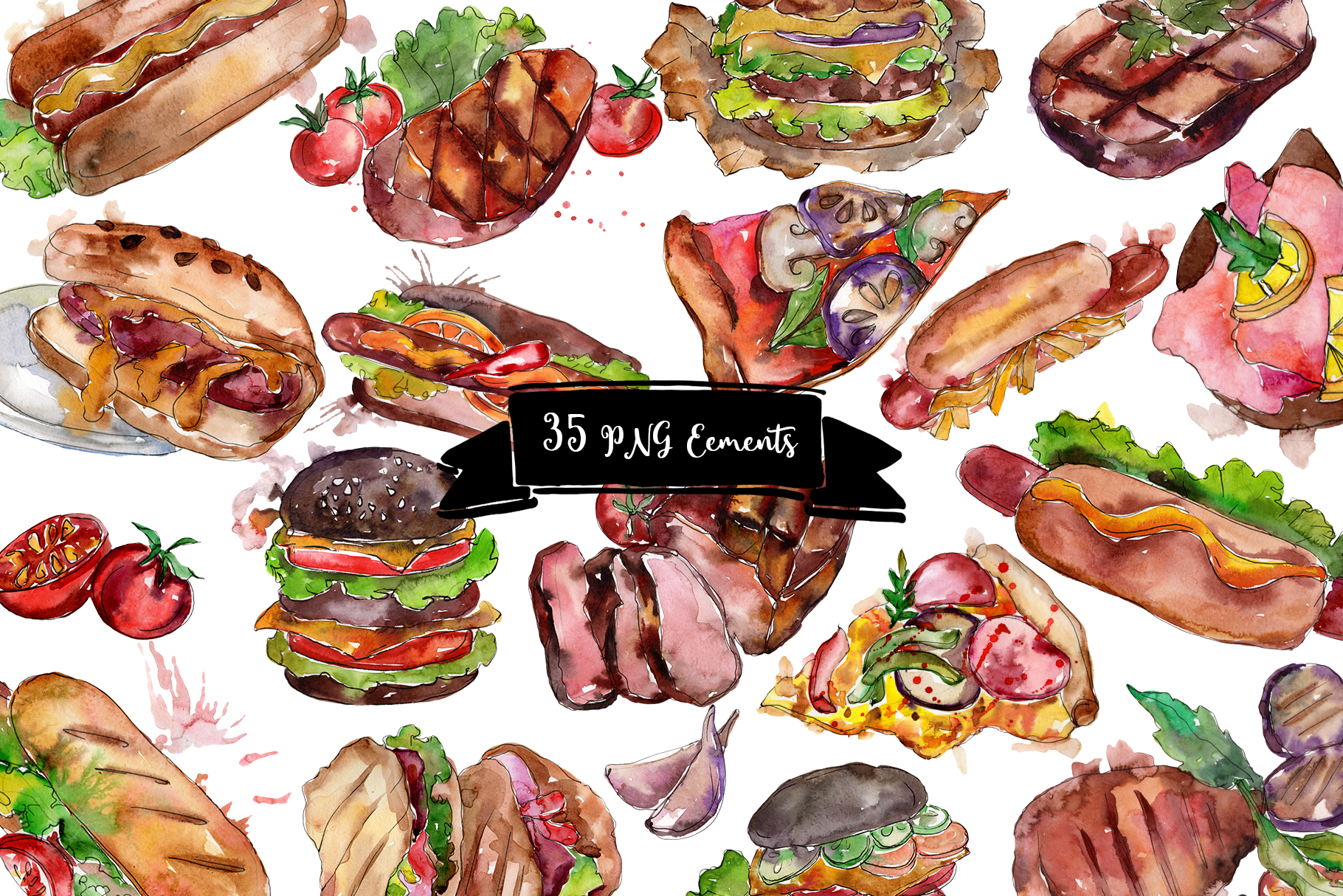 Fast food hot dog watercolor png example image 2
